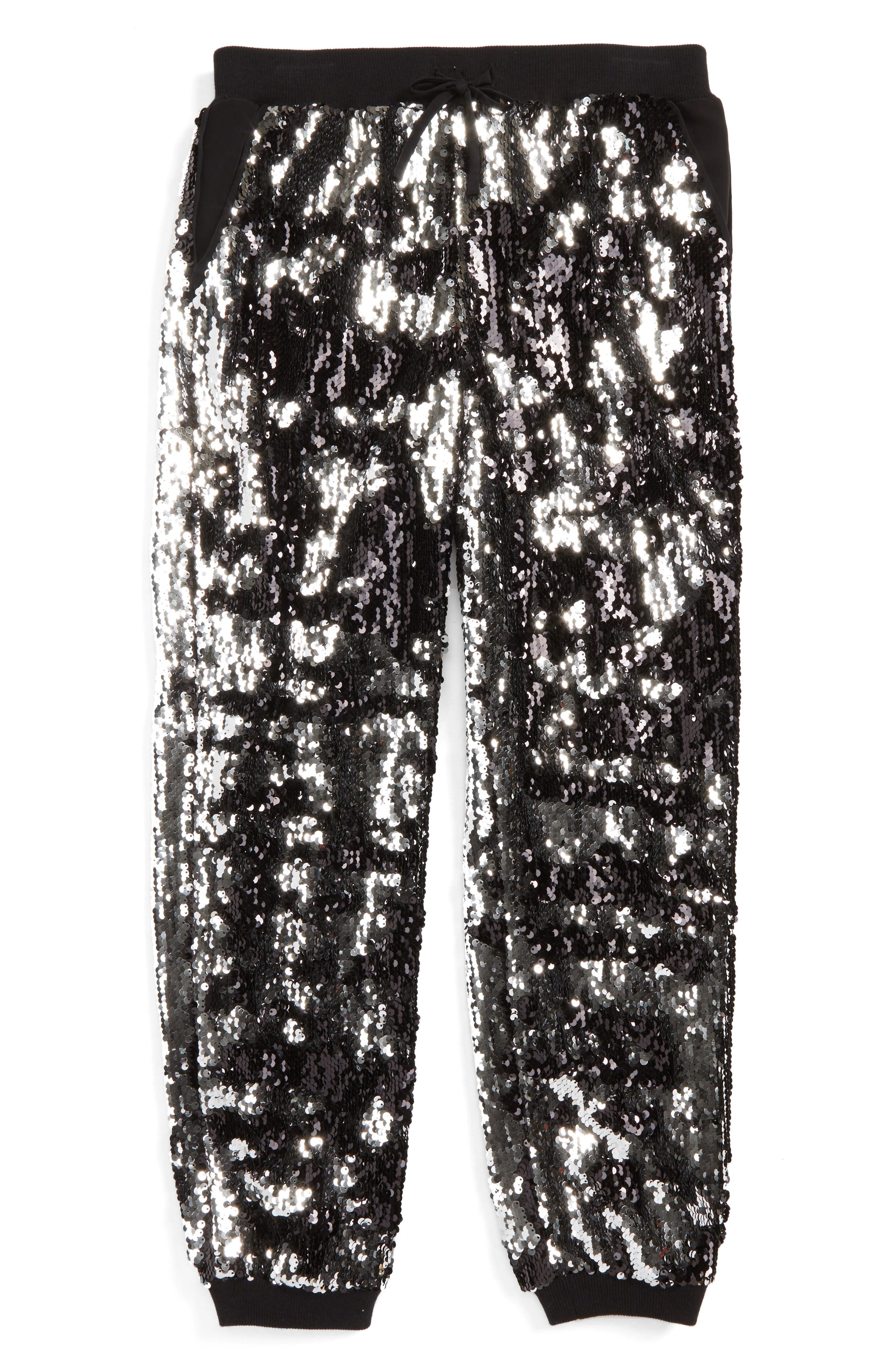 Sequin Jogger Pants,                             Main thumbnail 1, color,                             Silver/ Black