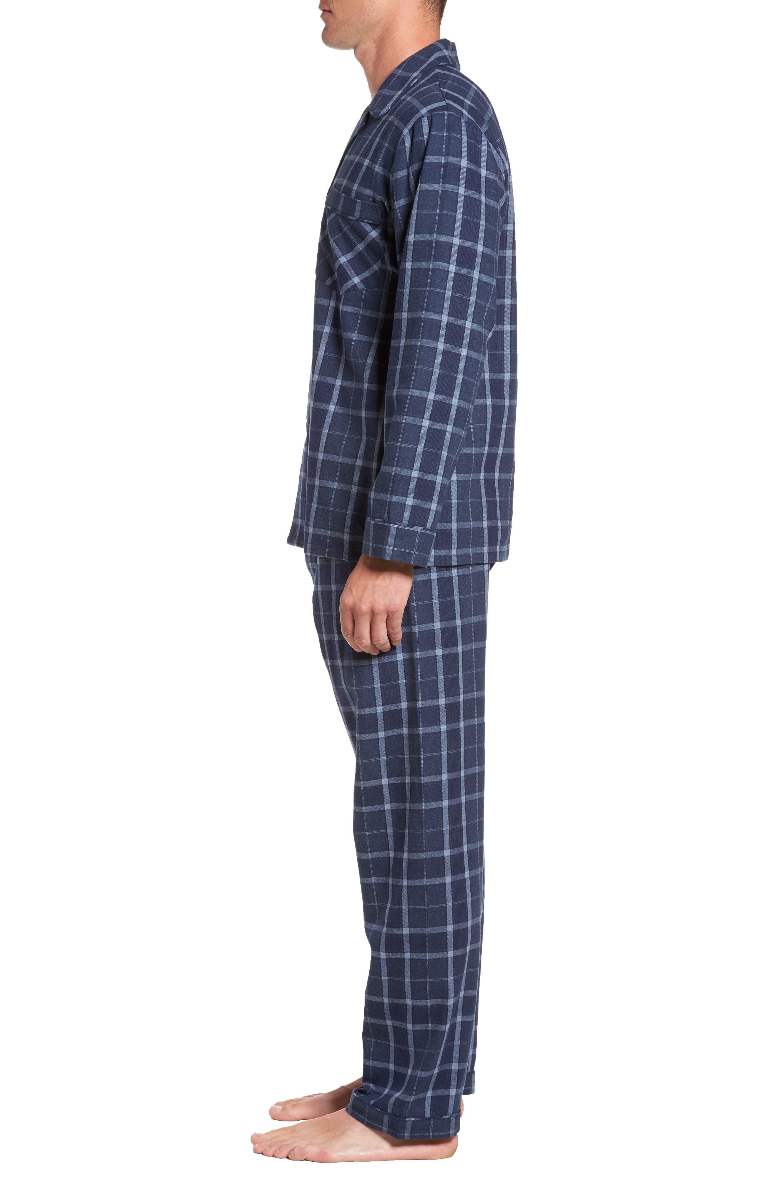 Guiness Plaid Pajama Set,                             Alternate thumbnail 3, color,                             Navy