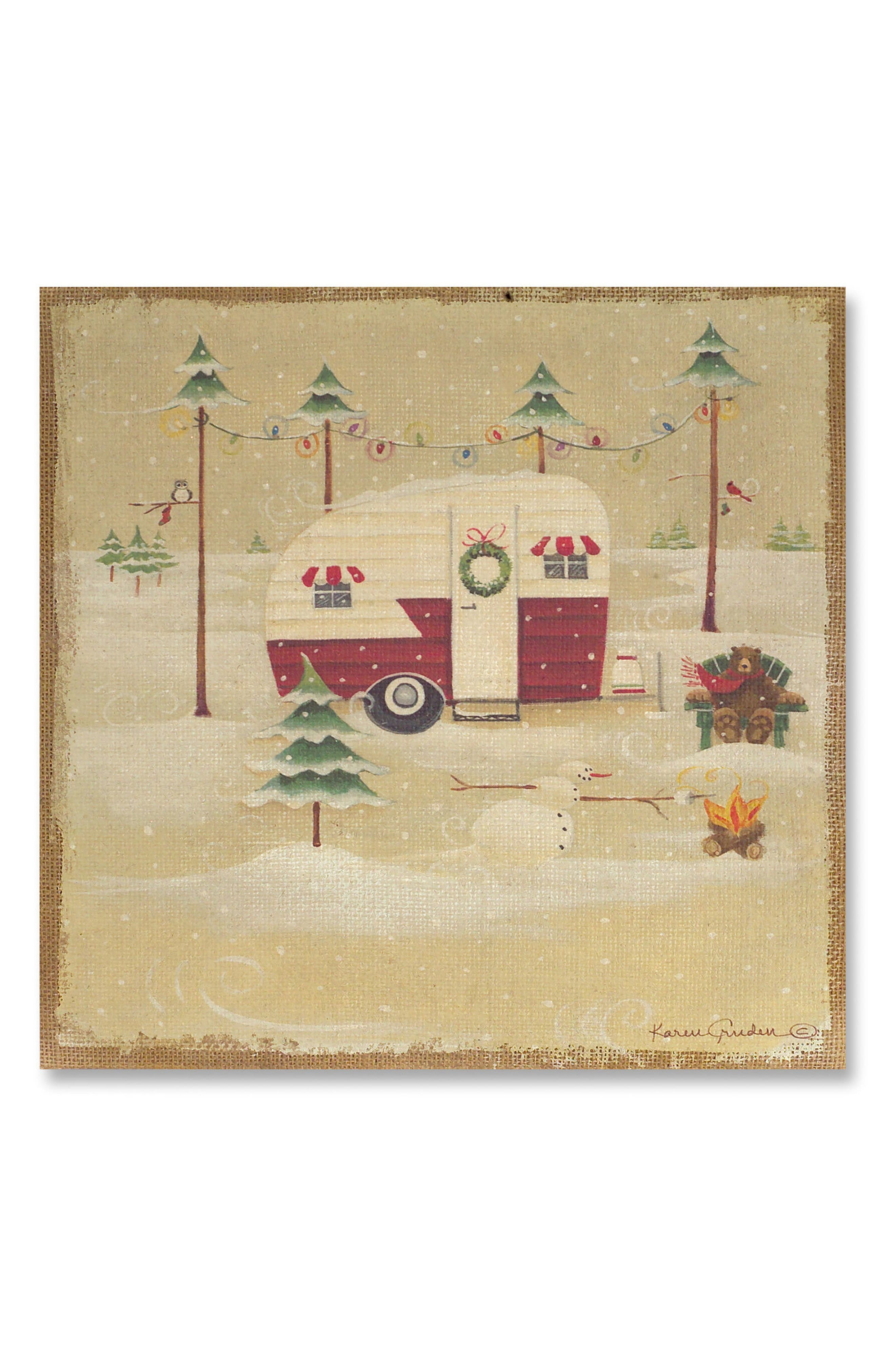 Main Image - Melrose Gifts Camping Christmas Trailer Wall Art