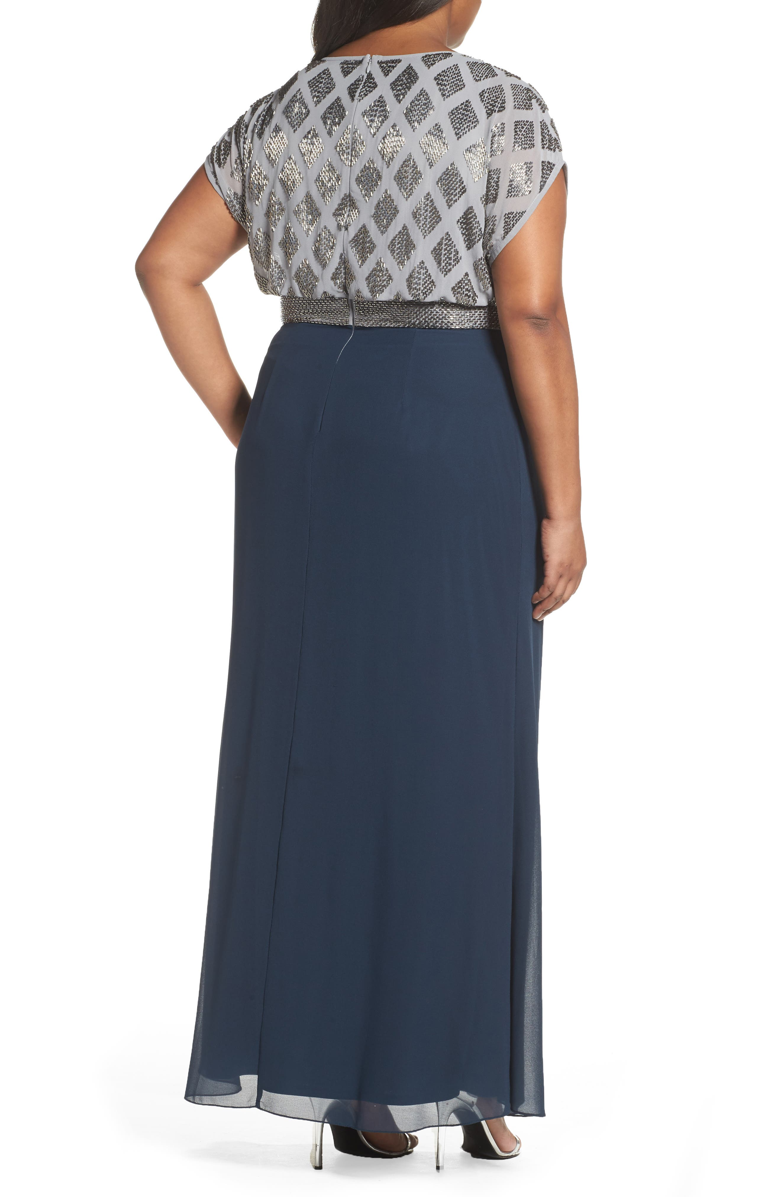 Alternate Image 2  - Adrianna Papell Beaded Gown (Plus Size)