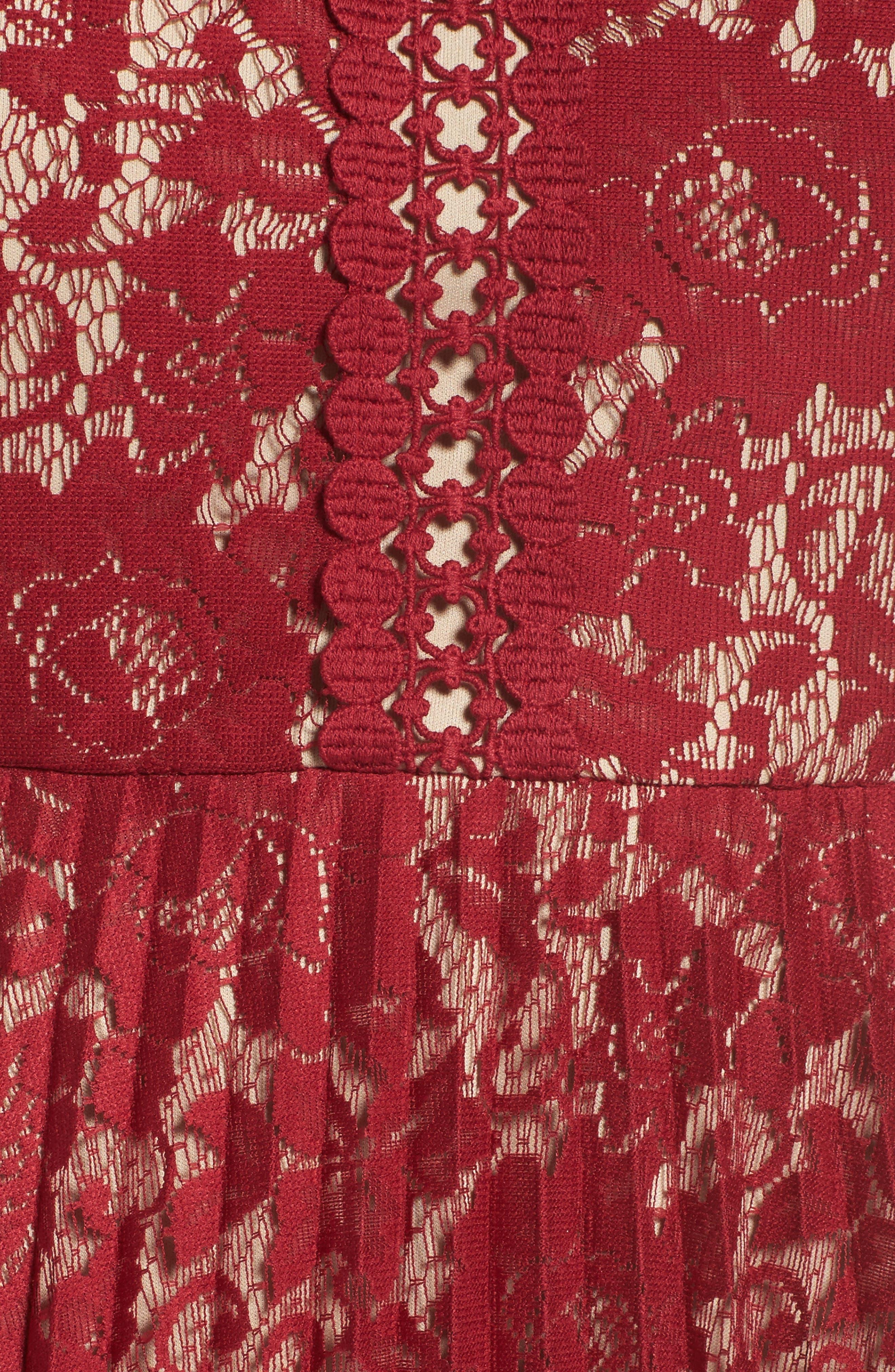 Alternate Image 5  - Gabby Skye Illusion Lace Pleat Midi Dress (Plus Size)