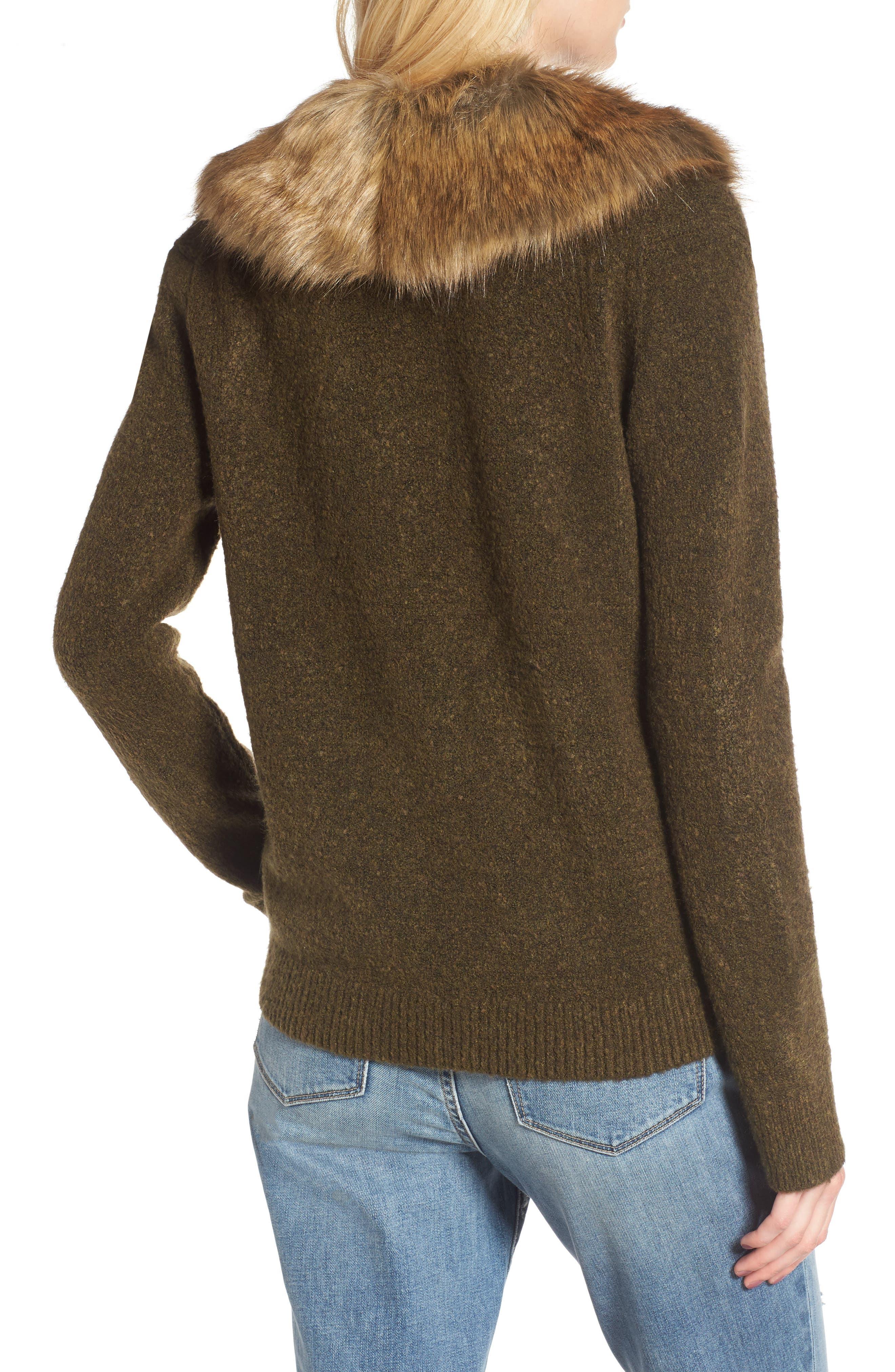 Faux Fur Collar Cardigan,                             Alternate thumbnail 2, color,                             Olive Tree Rainbow Multi