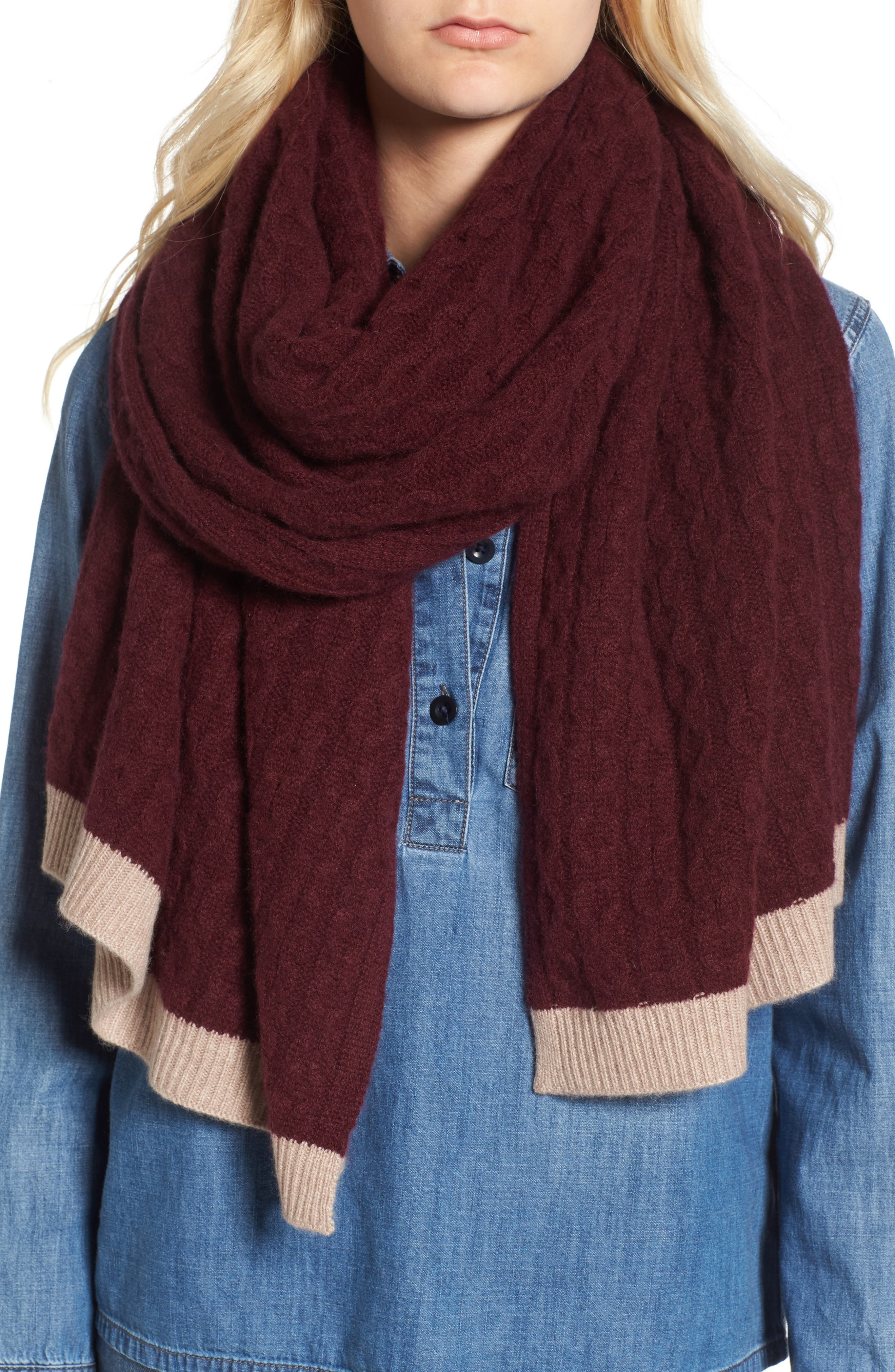 Main Image - Halogen® Cable Knit Cashmere Scarf