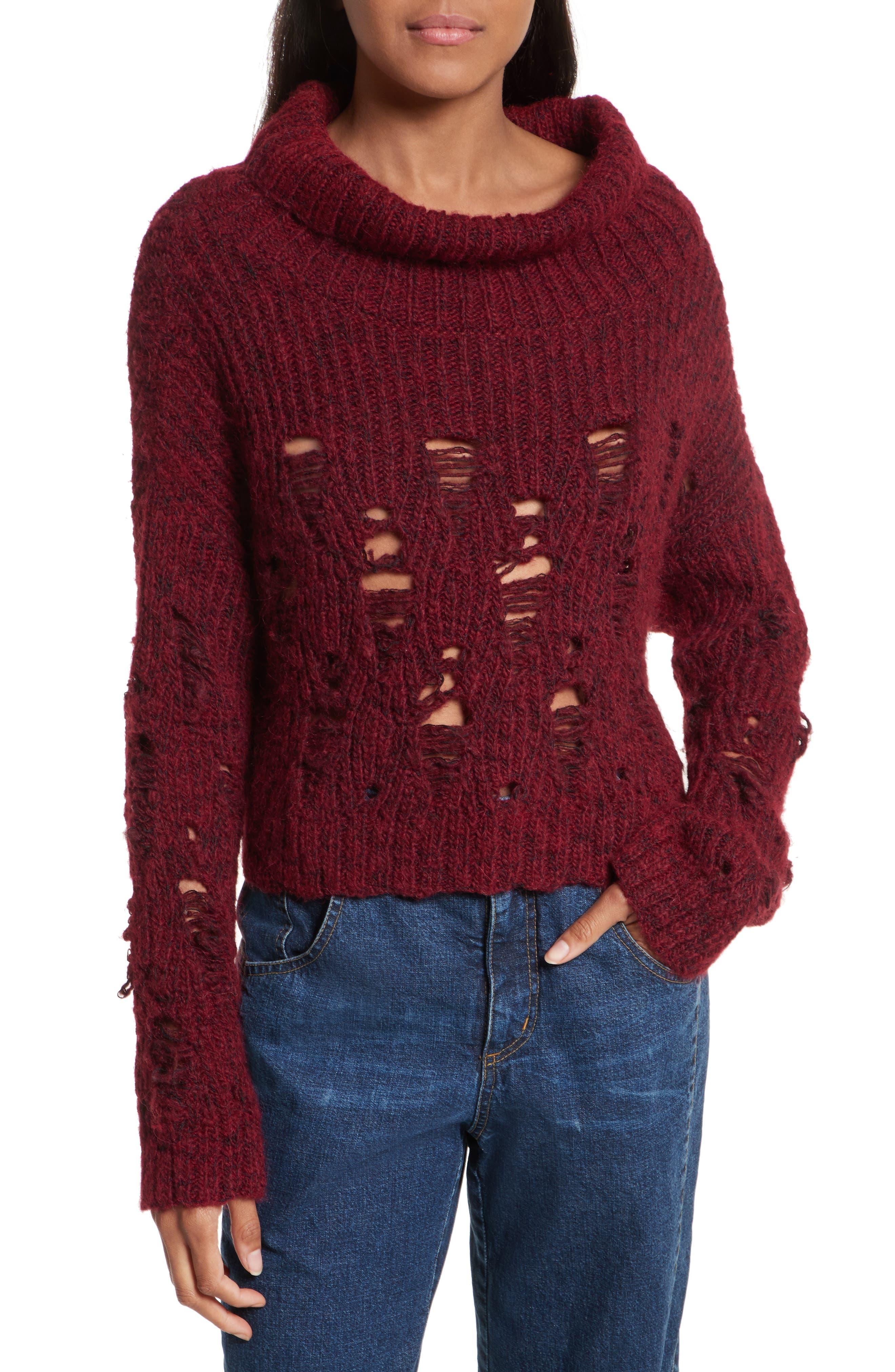 Tigris Crop Turtleneck Sweater,                         Main,                         color, Wine