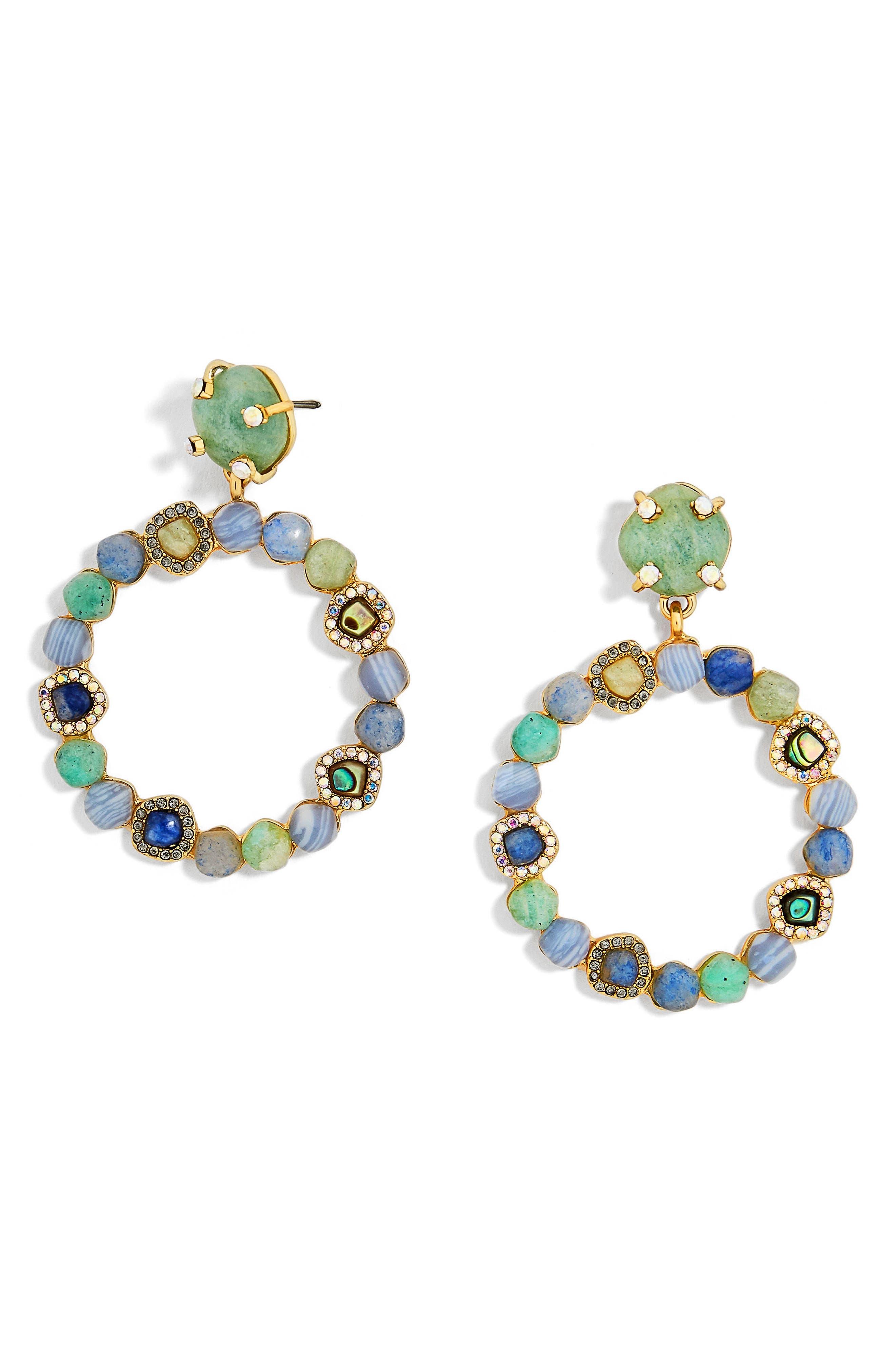 Lavina Frontal Hoop Earrings,                             Main thumbnail 1, color,                             Green