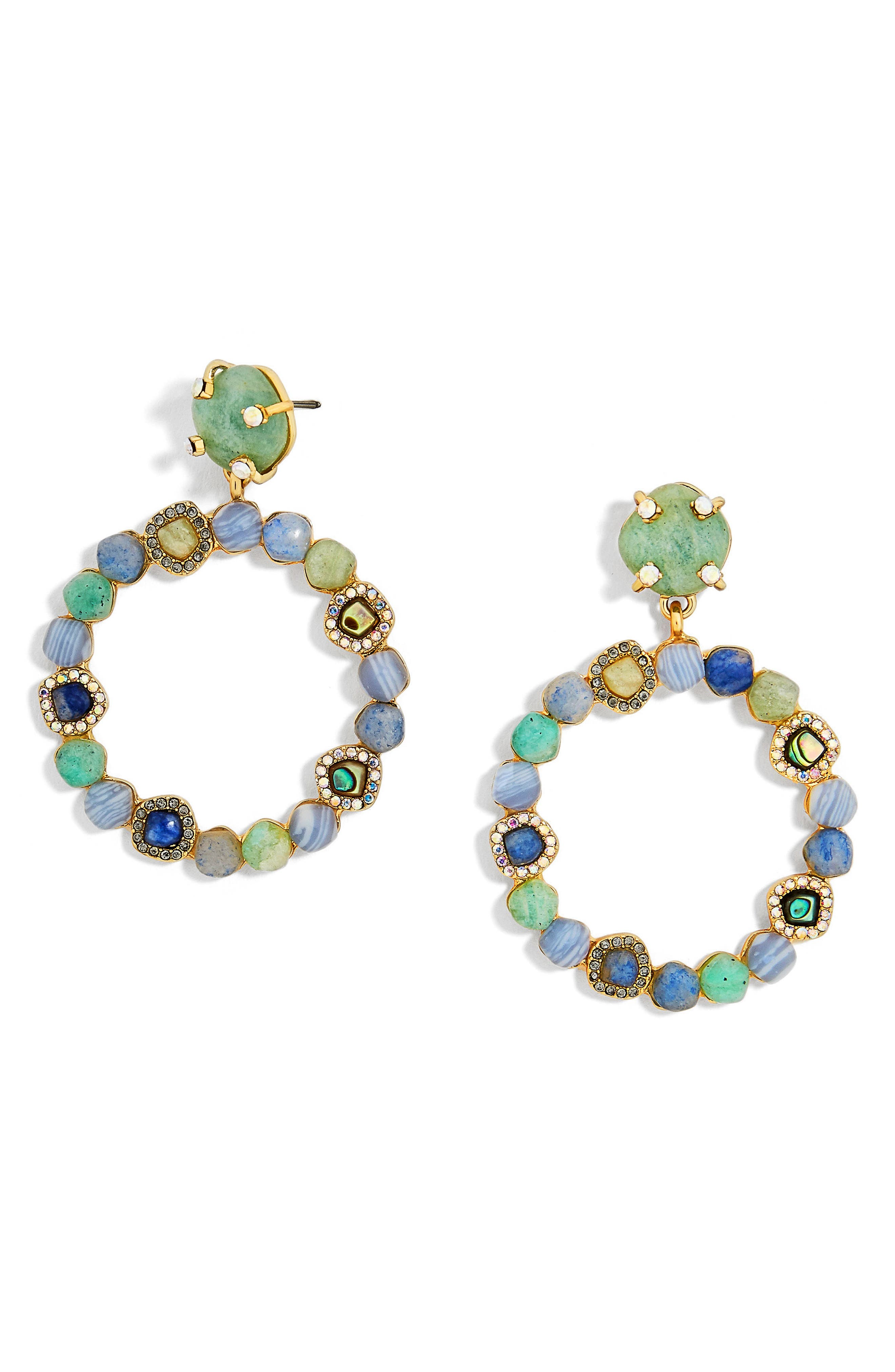 Lavina Frontal Hoop Earrings,                         Main,                         color, Green