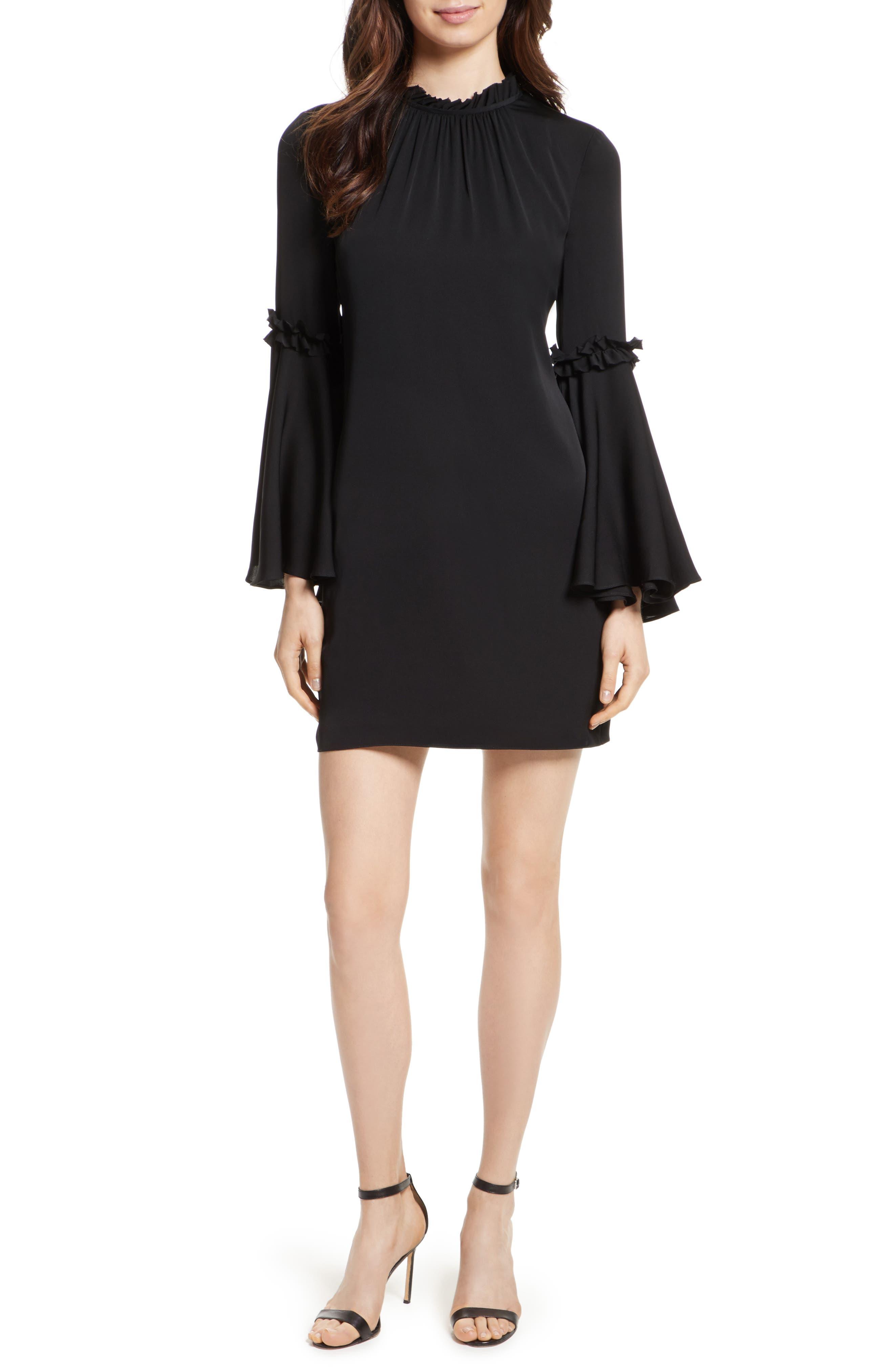 Cassie Bell Sleeve A-Line Dress,                         Main,                         color, Black
