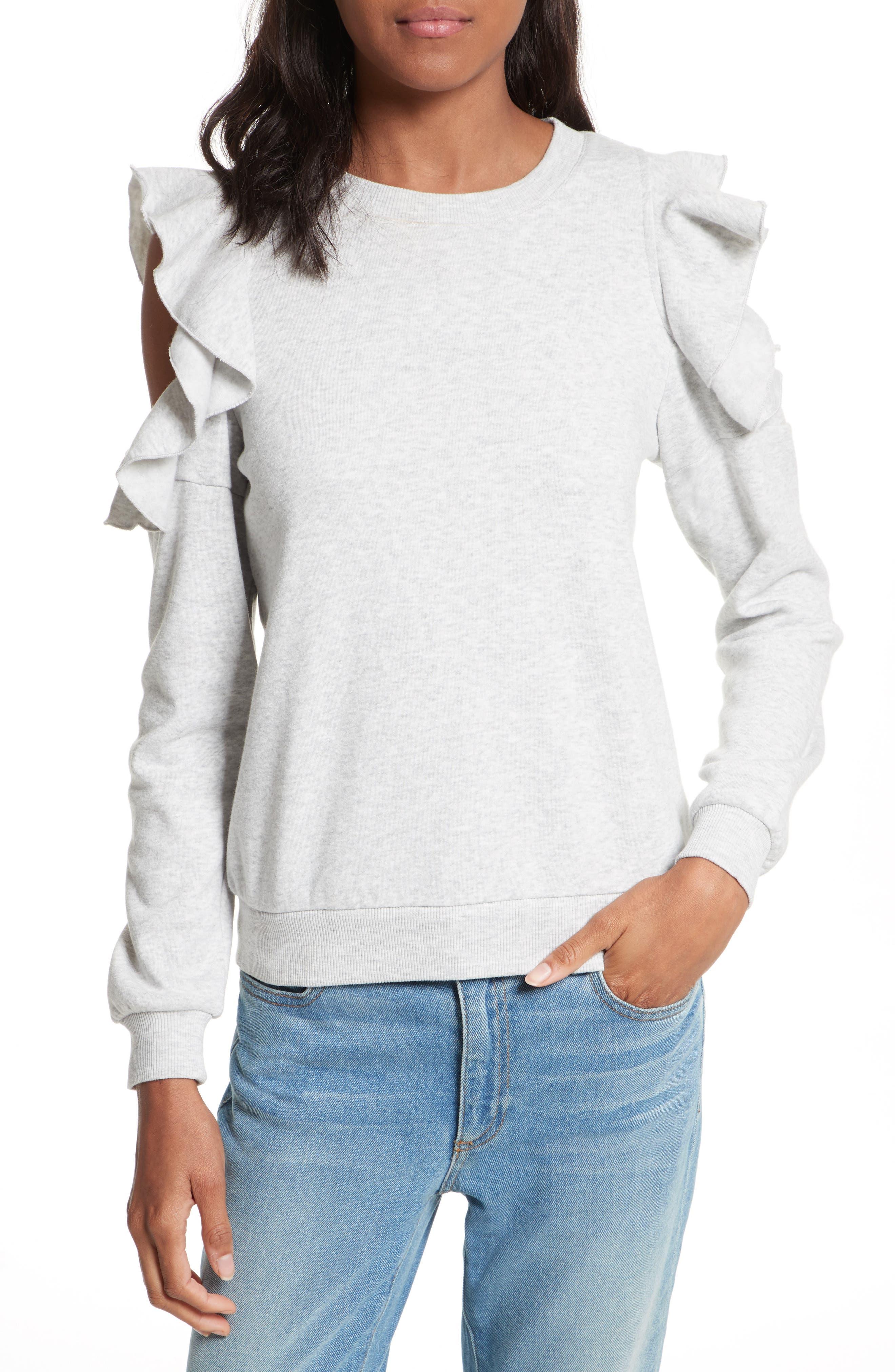 Gracie Cold Shoulder Sweatshirt,                         Main,                         color, Light Heather Grey