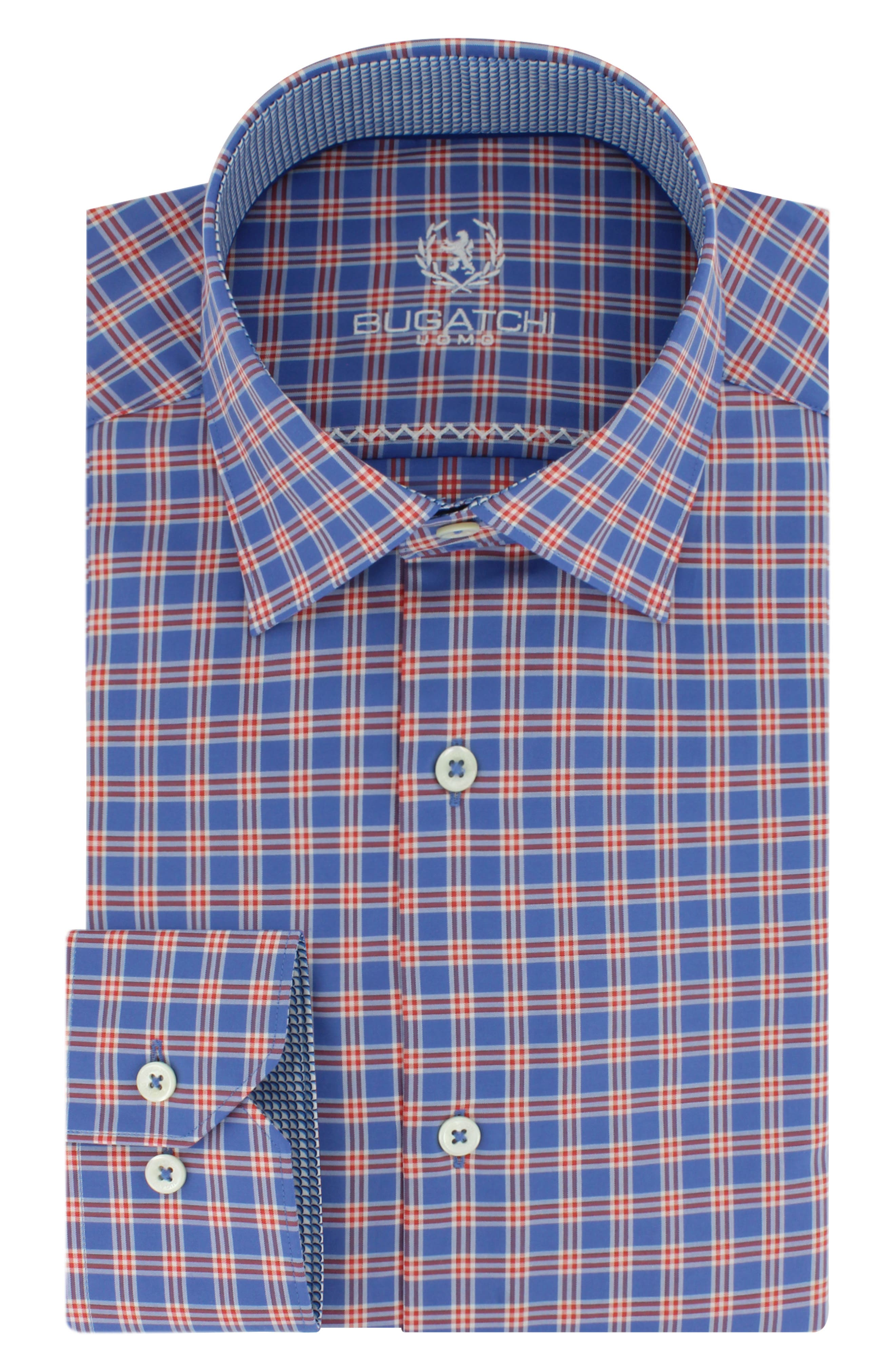 Alternate Image 1 Selected - Bugatchi Trim Fit Plaid Dress Shirt