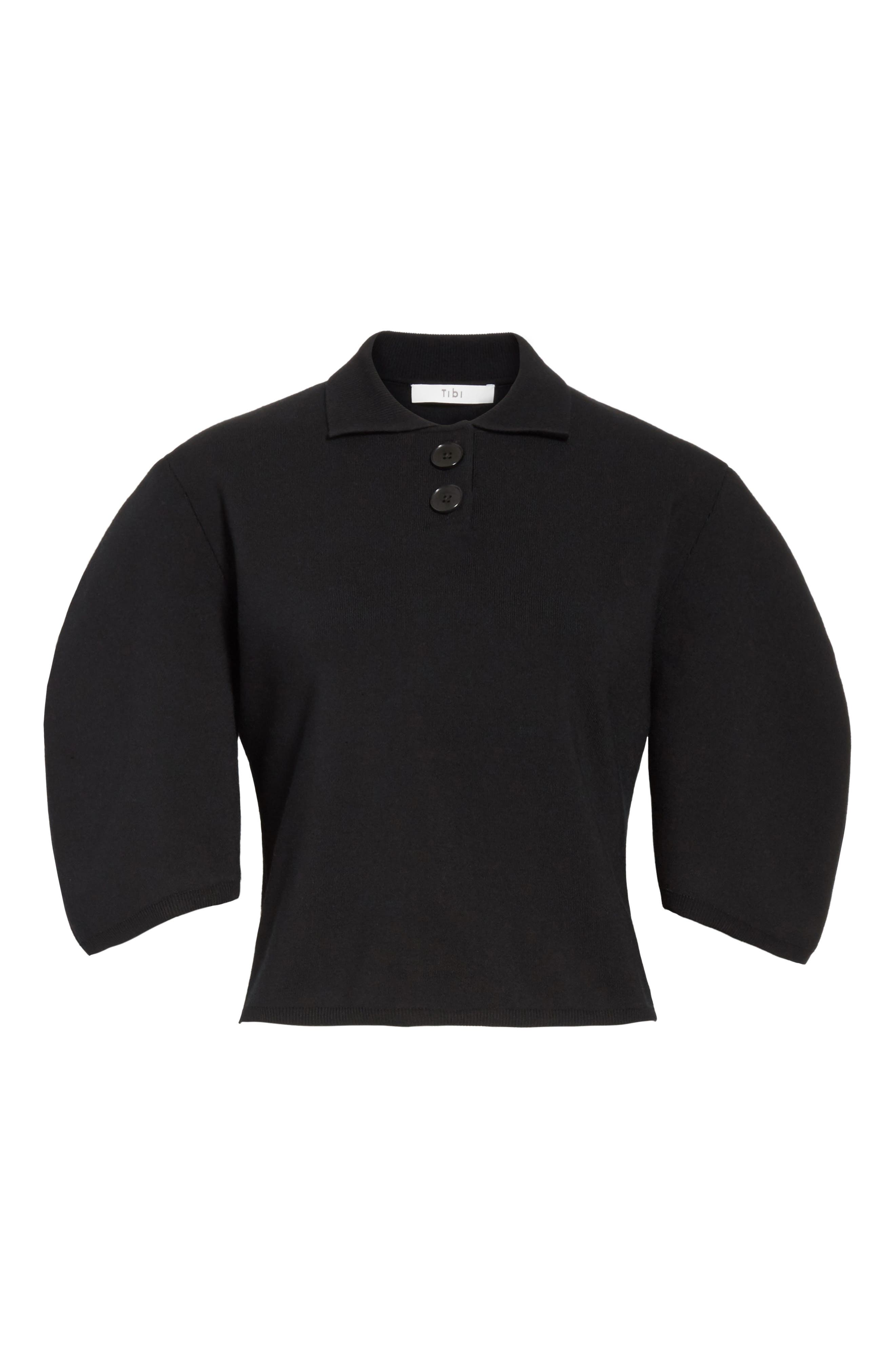 Sculpted Sleeve Wool Blend Polo Sweater,                             Alternate thumbnail 6, color,                             Black