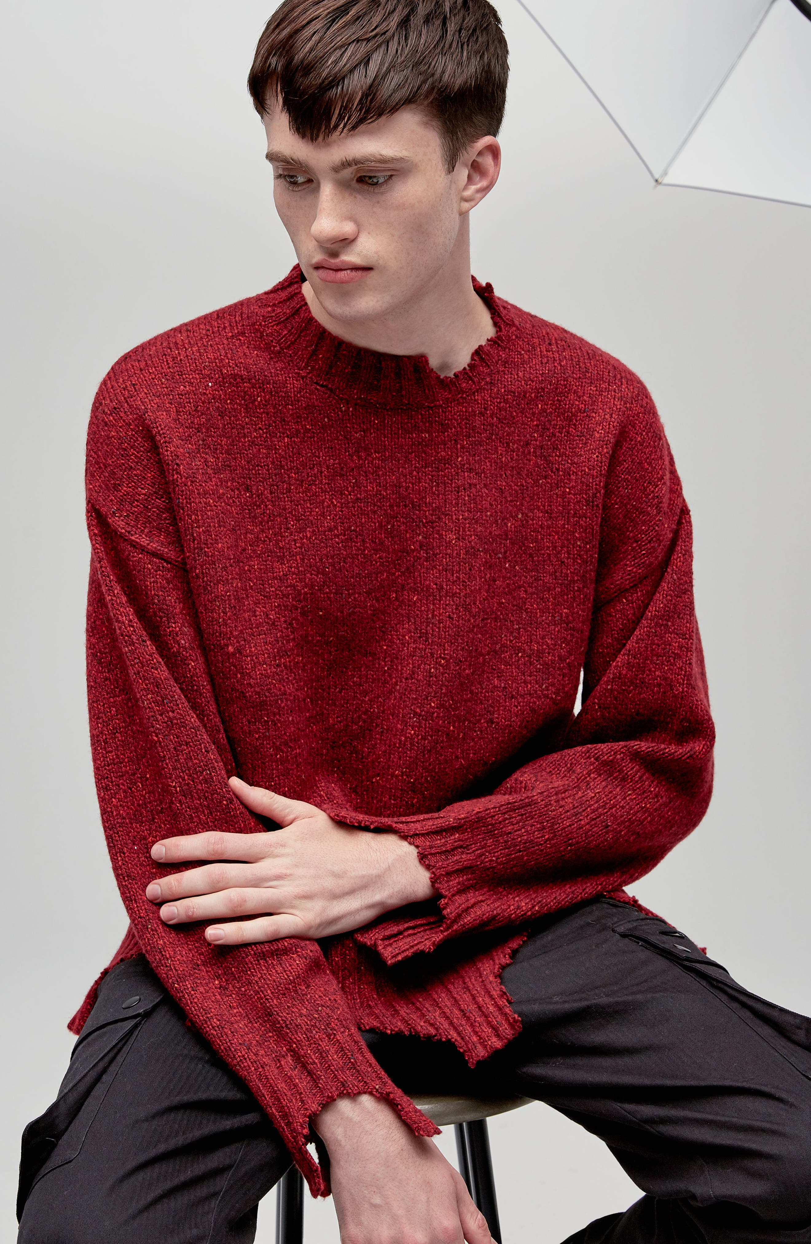 Destroyed Crewneck Sweater,                             Alternate thumbnail 8, color,                             Red