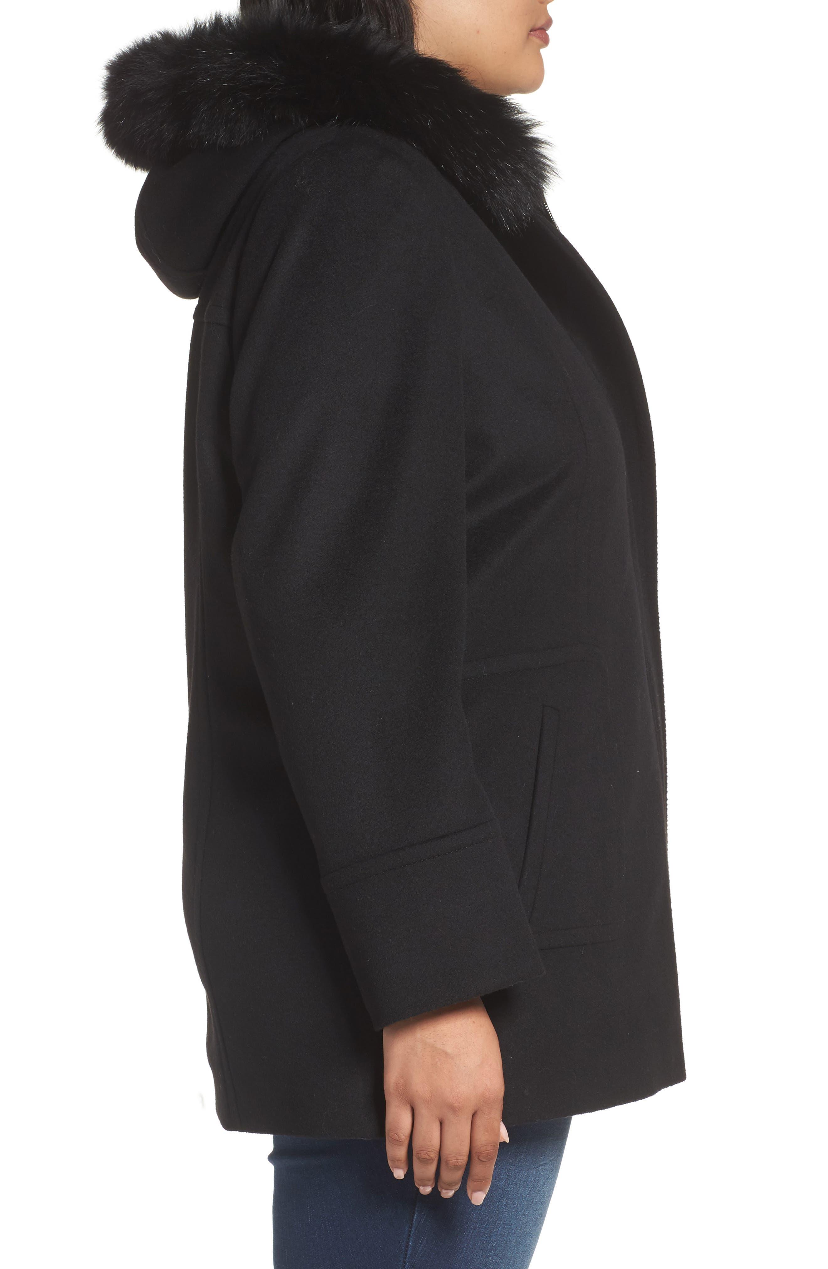 Alternate Image 3  - Sachi Hooded Wool Blend Coat with Genuine Fox Fur Trim (Regular & Petite)