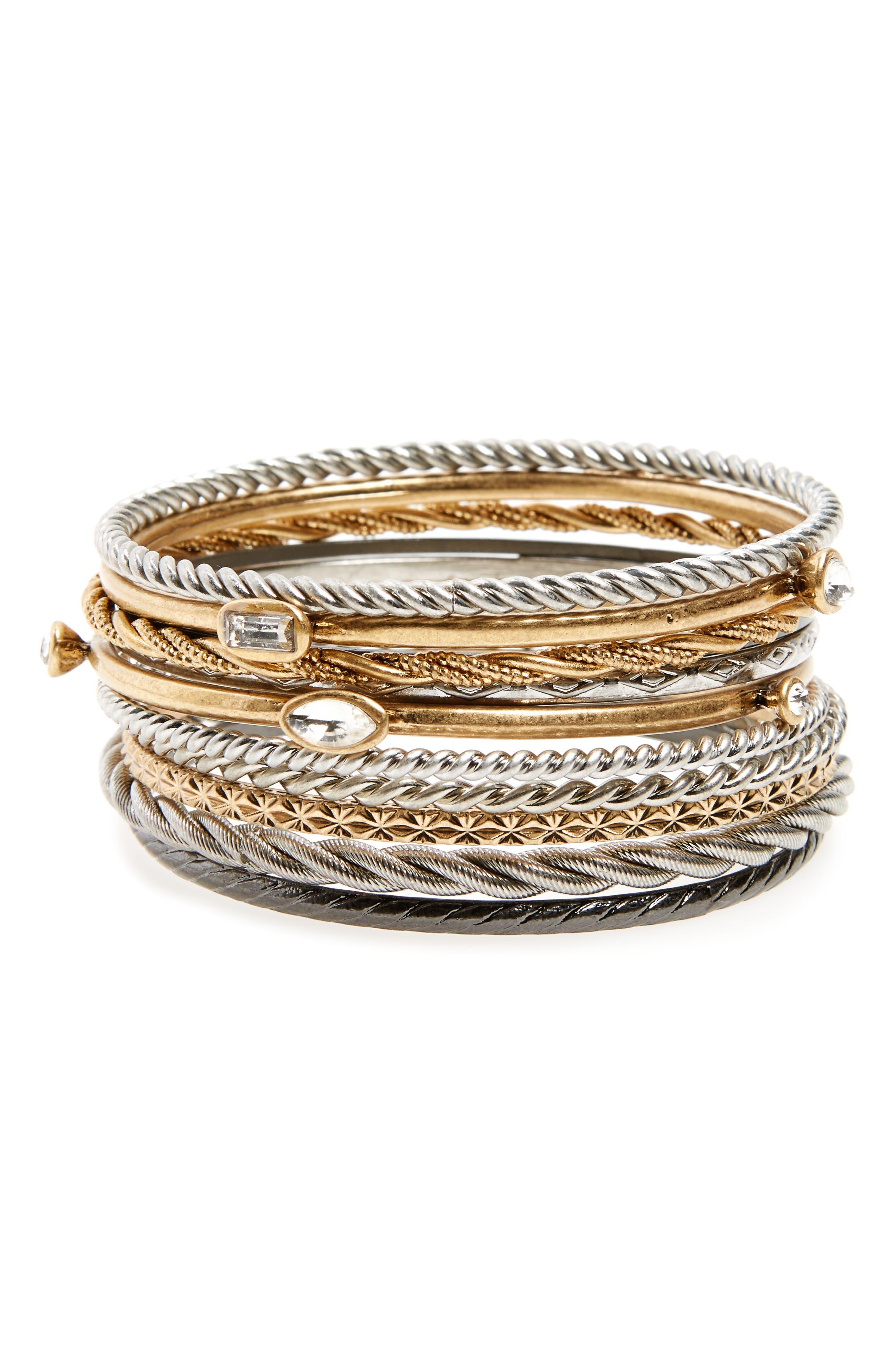 Set of 11 Bangles,                         Main,                         color, Clear- Gold- Rhodium- Hem
