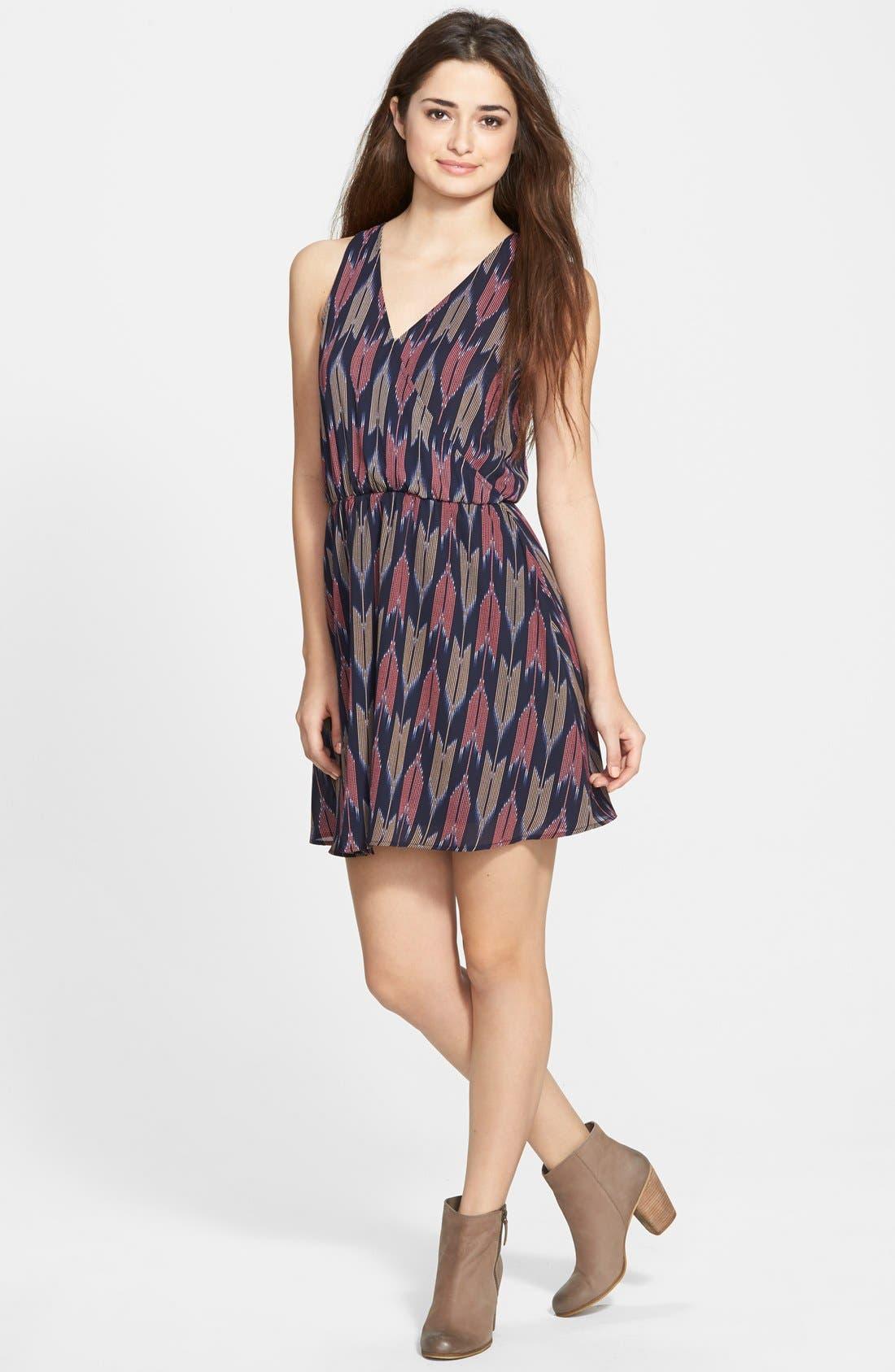 Kylie Skater Dress,                         Main,                         color, Navy Multi