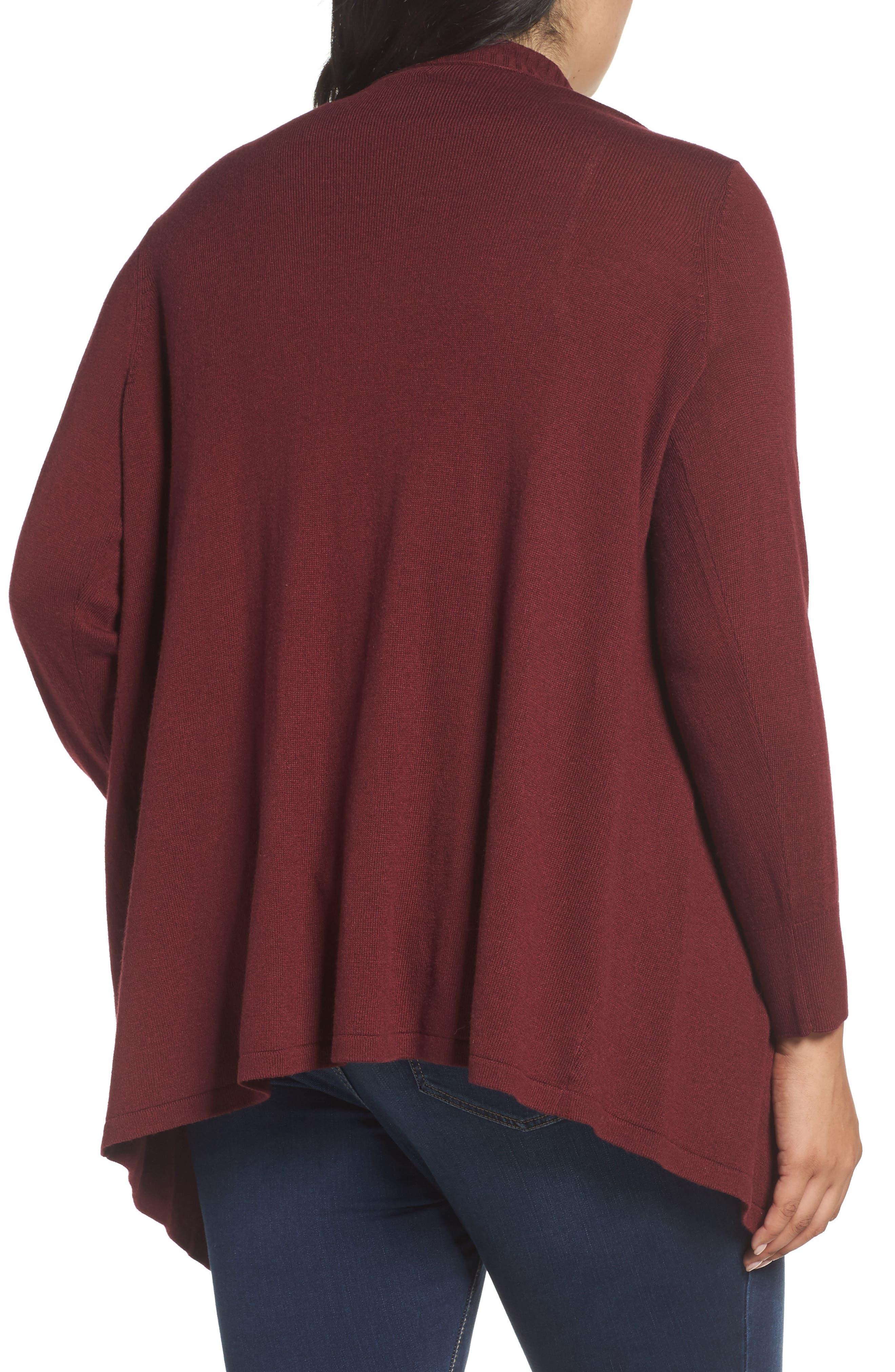 Cascade Open Front Cardigan,                             Alternate thumbnail 2, color,                             Red Tannin
