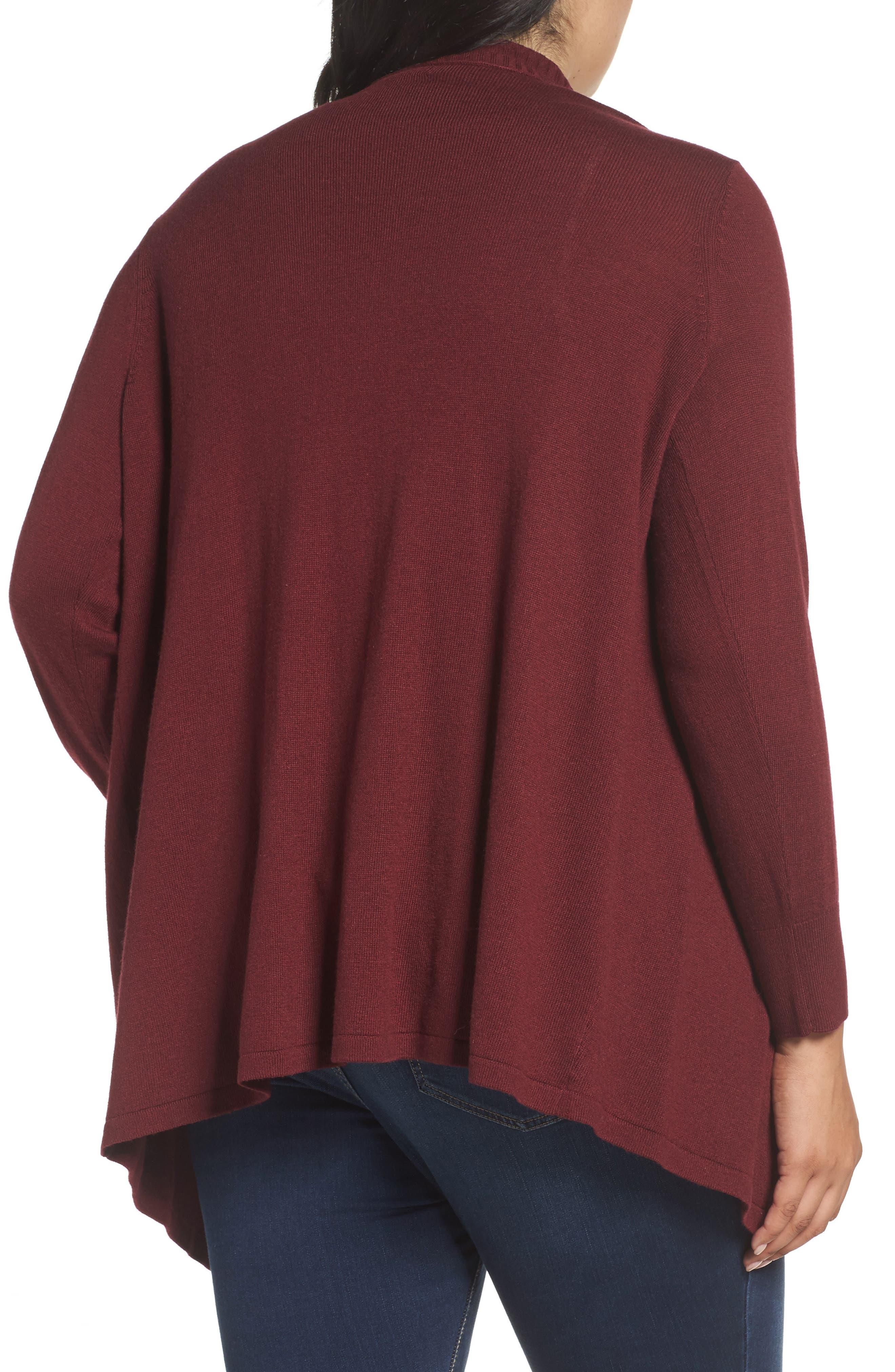 Alternate Image 2  - Sejour Cascade Open Front Cardigan (Plus Size)