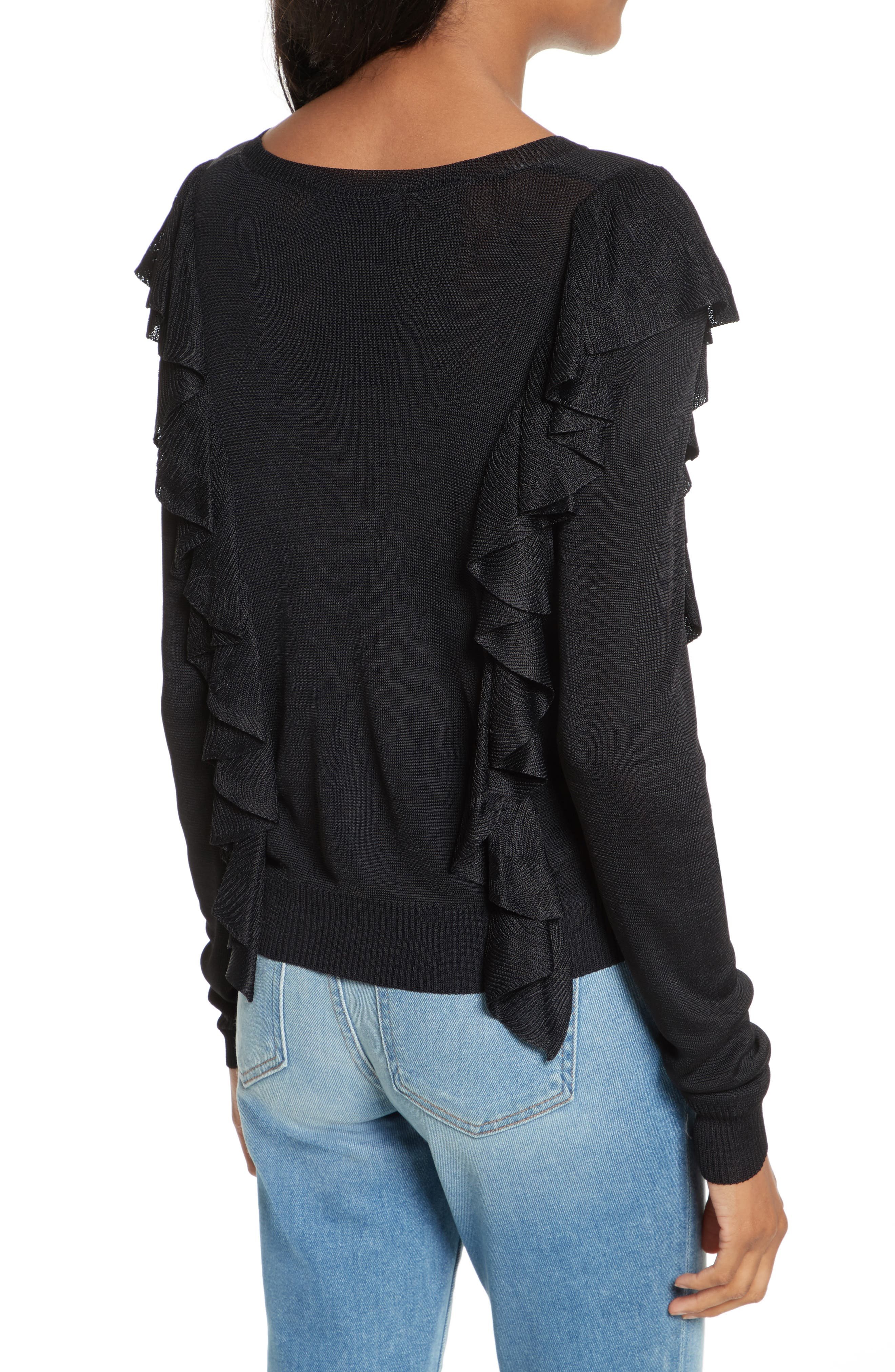 Lou Ruffle Sweater,                             Alternate thumbnail 2, color,                             Black