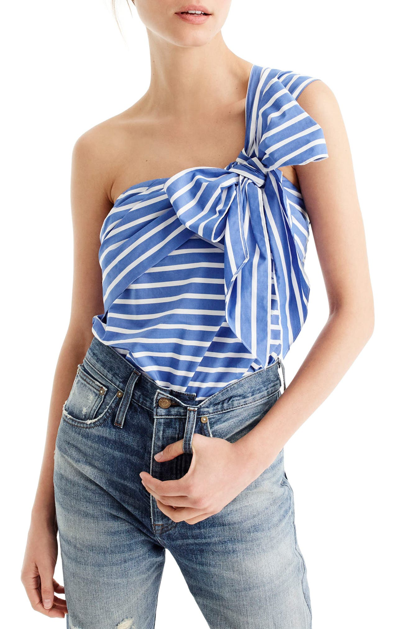 Main Image - J.Crew Stripe Cotton One-Shoulder Bow Top