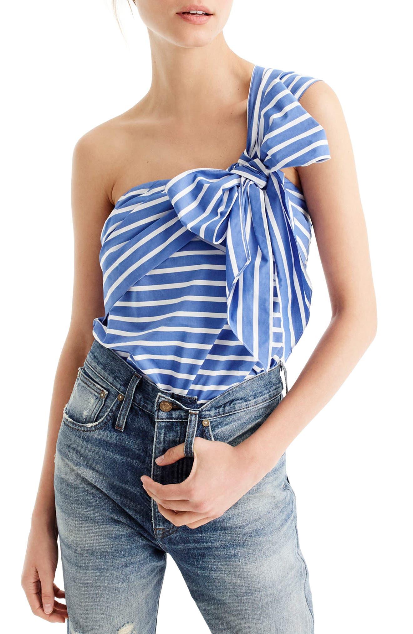 J.Crew Stripe Cotton One-Shoulder Bow Top,                         Main,                         color, White Blue