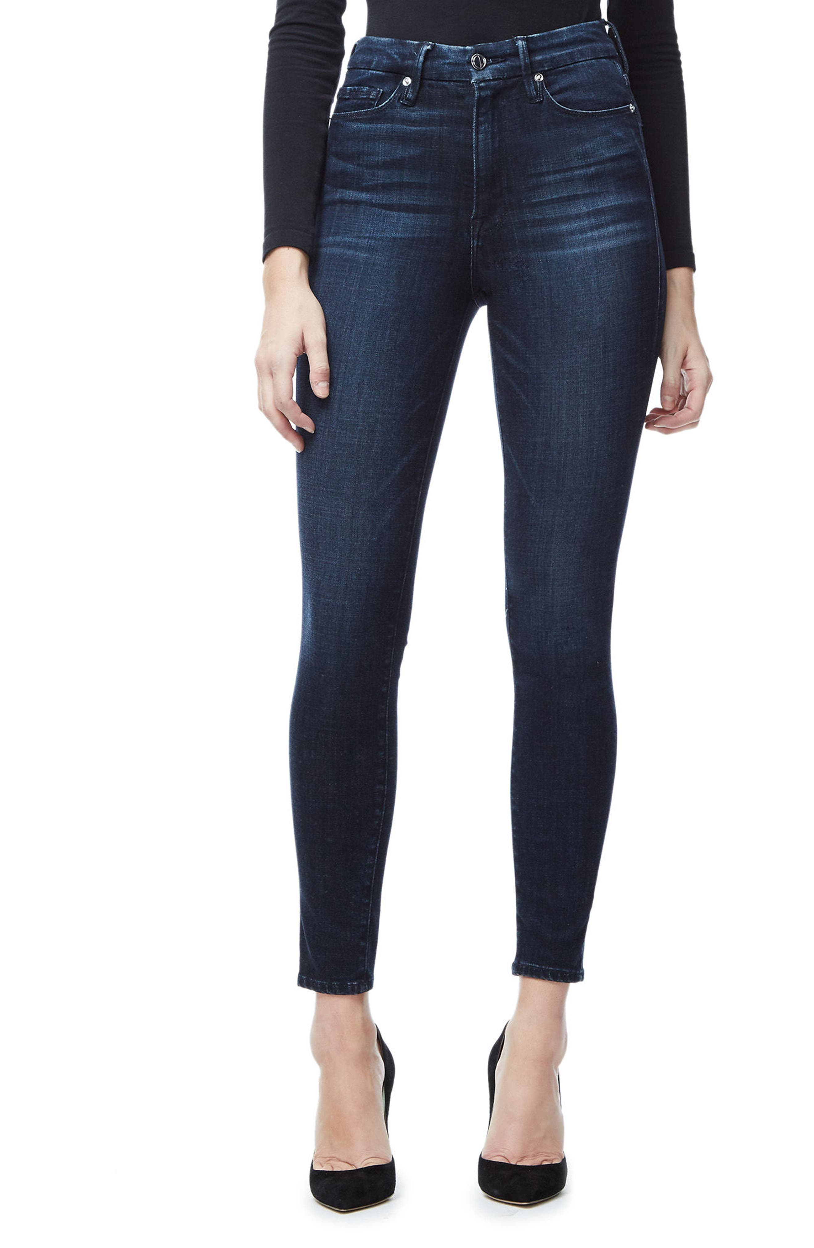 Good American Good Waist High Waist Crop Skinny Jeans (Blue 025) (Extended Sizes)