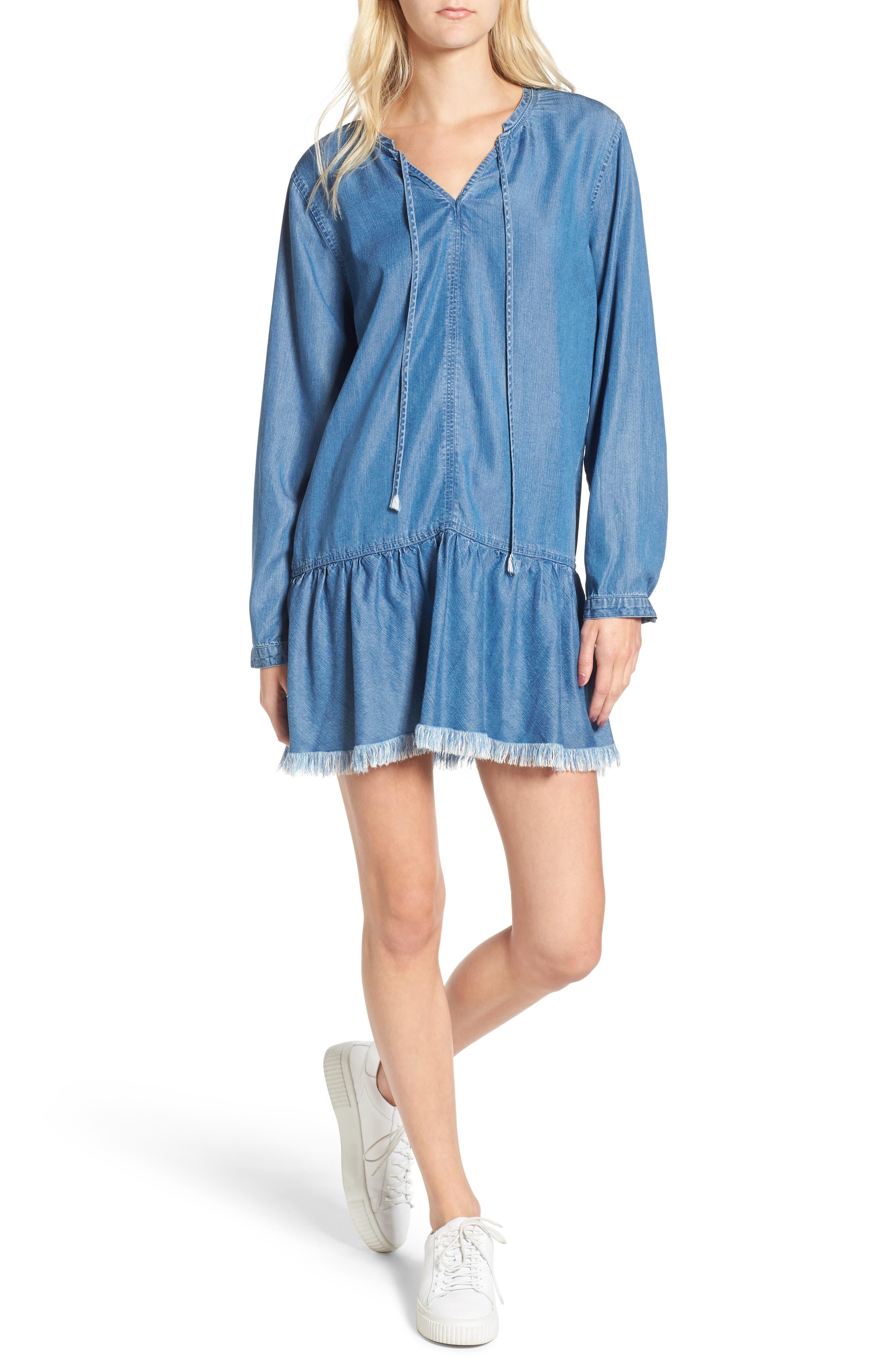 Mel Chambray Tunic Dress,                             Main thumbnail 1, color,                             Medium Vintage Wash
