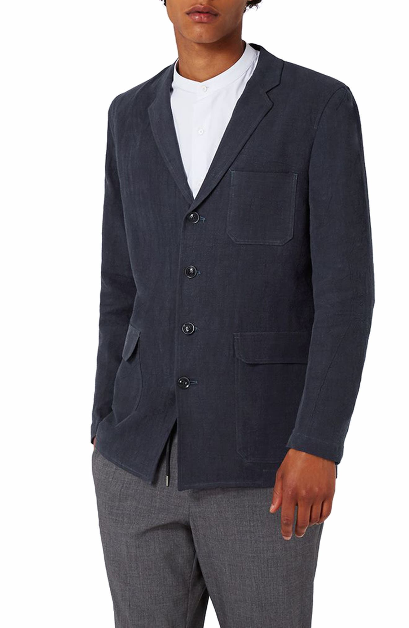 Topman Deconstructed Linen Blend Blazer