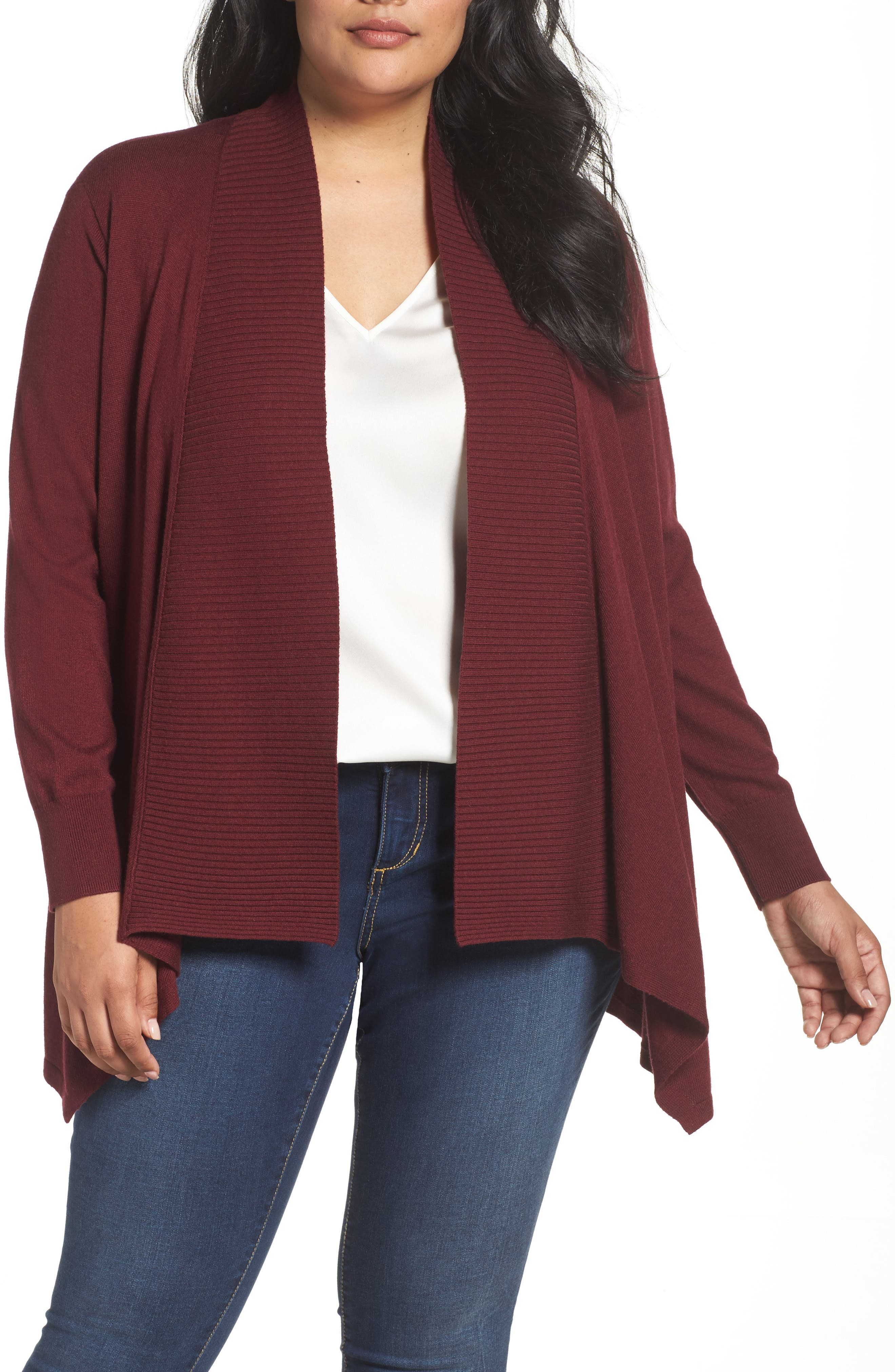 Cascade Open Front Cardigan,                         Main,                         color, Red Tannin