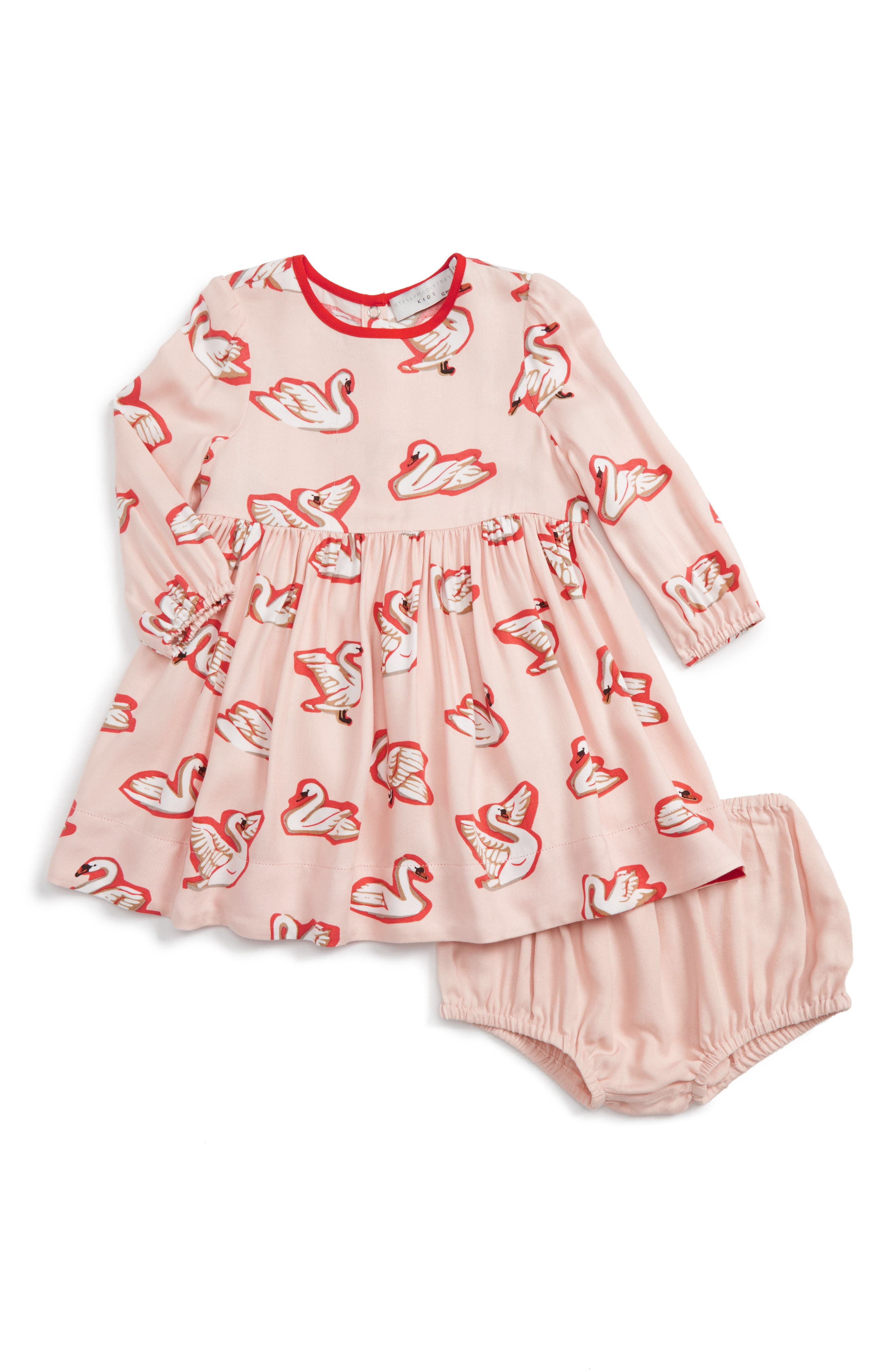 Stella McCartney Kids Fleur Swan Print Dress (Baby Girls)
