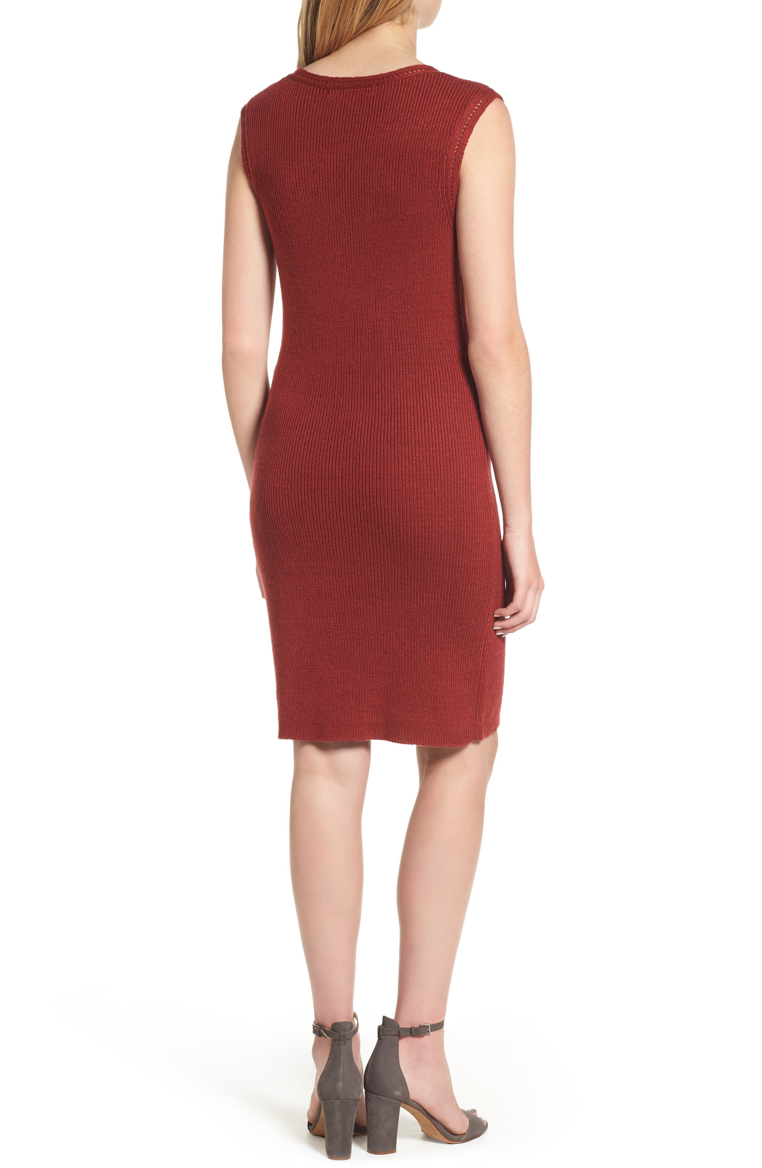 Thora Sheath Dress,                             Alternate thumbnail 2, color,                             Brick