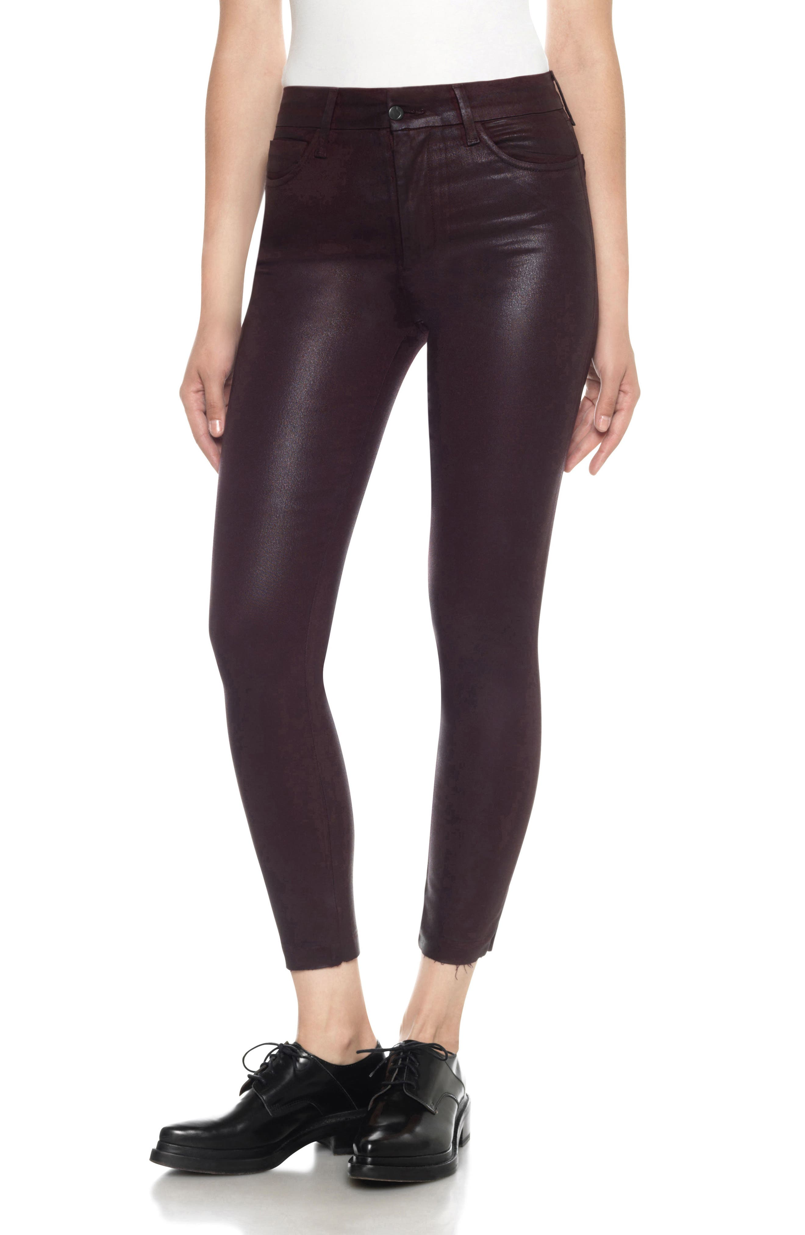 Charlie Coated High Waist Ankle Skinny Jeans,                         Main,                         color, Merlot