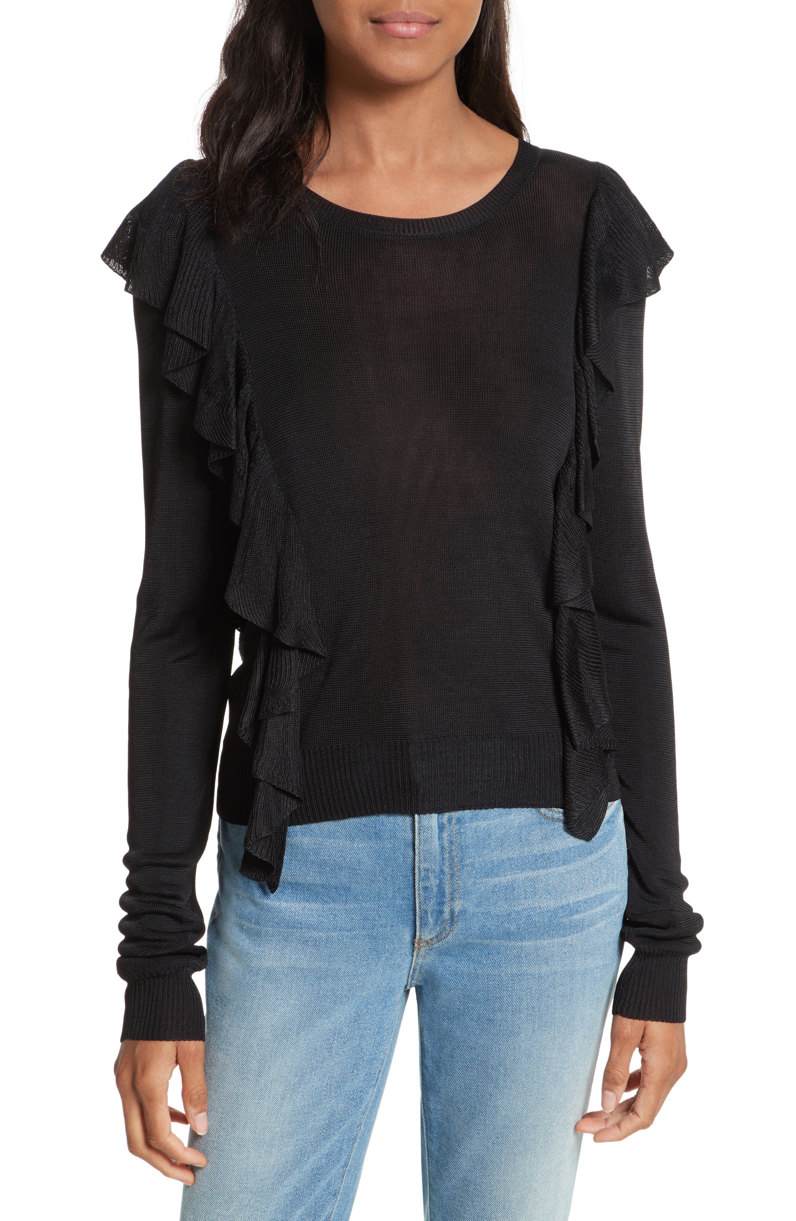 Lou Ruffle Sweater,                             Main thumbnail 1, color,                             Black
