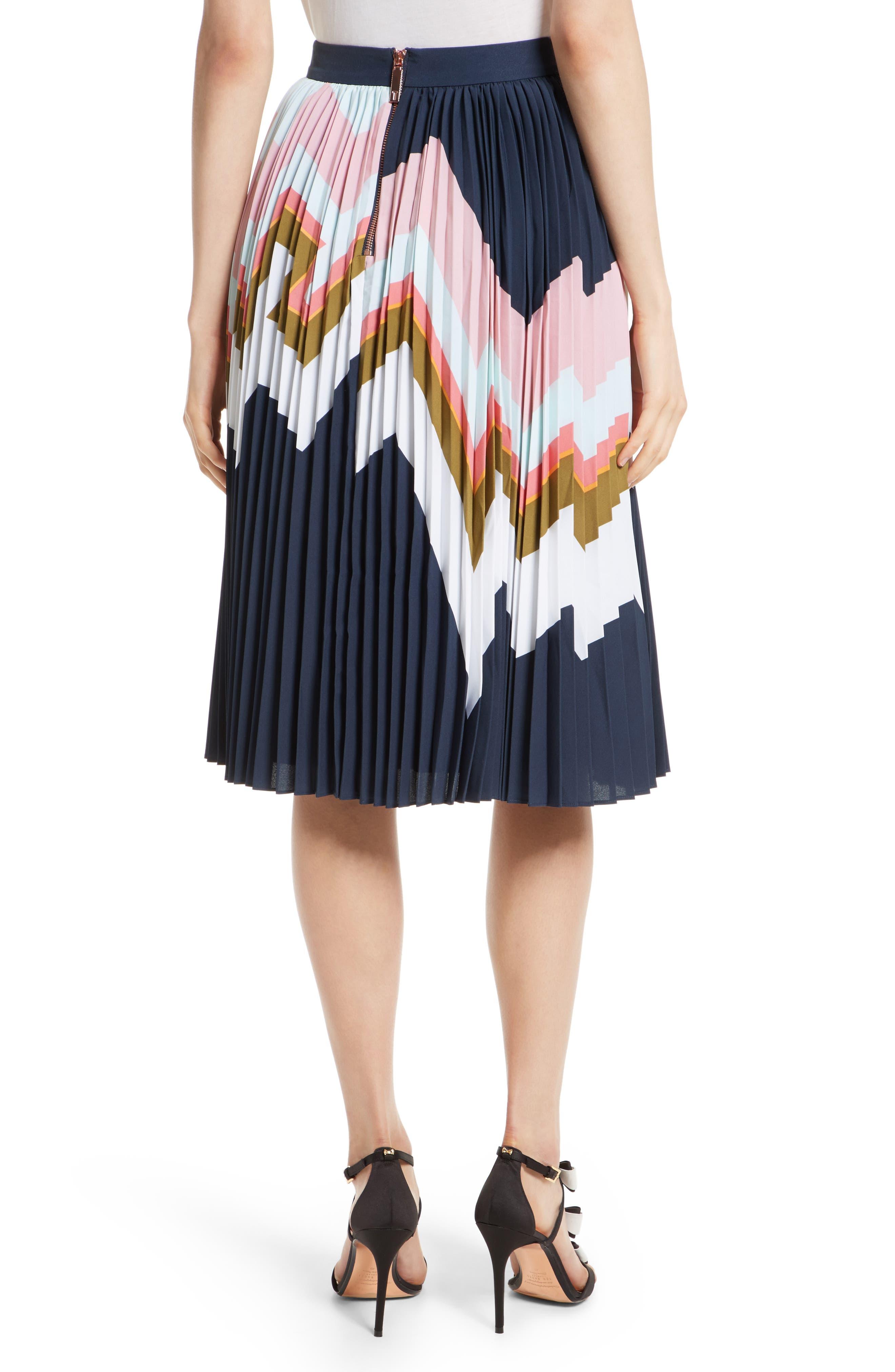 Evianna Mississippi Print Pleated Skirt,                             Alternate thumbnail 2, color,                             Navy