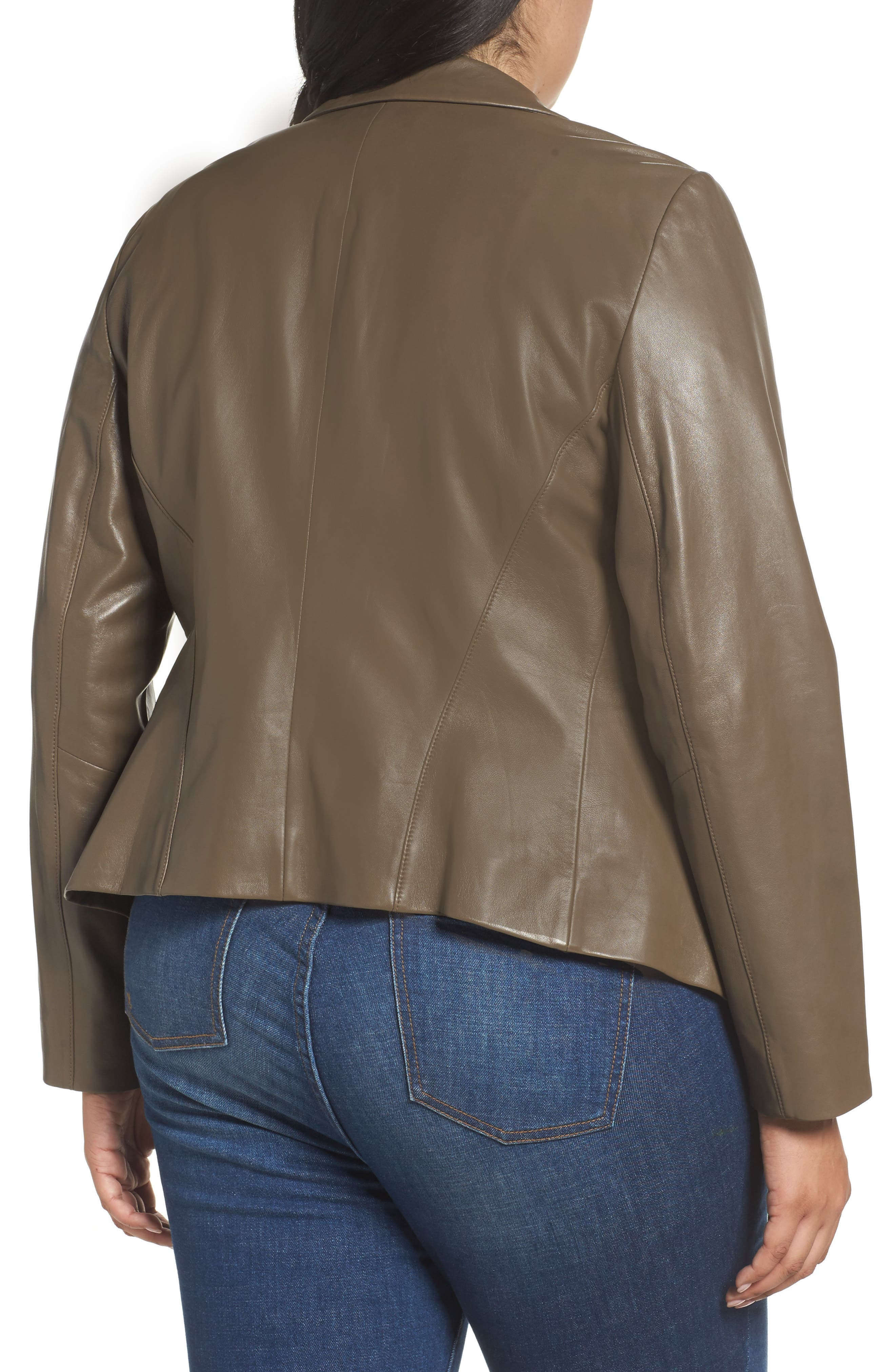 Leather Blazer,                             Alternate thumbnail 2, color,                             Olive Grey