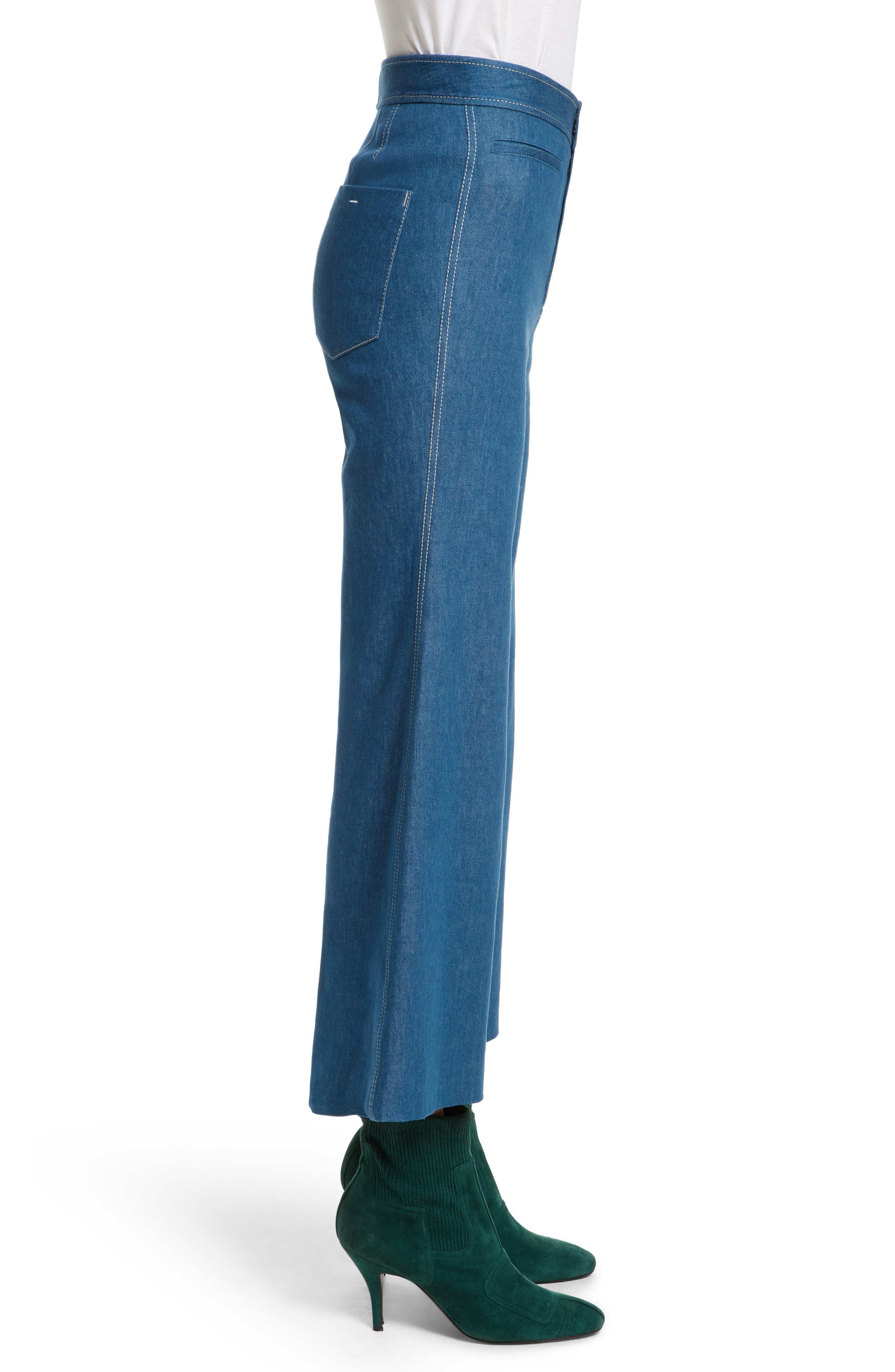 Crop Flare Jeans,                             Alternate thumbnail 3, color,                             Sea Green