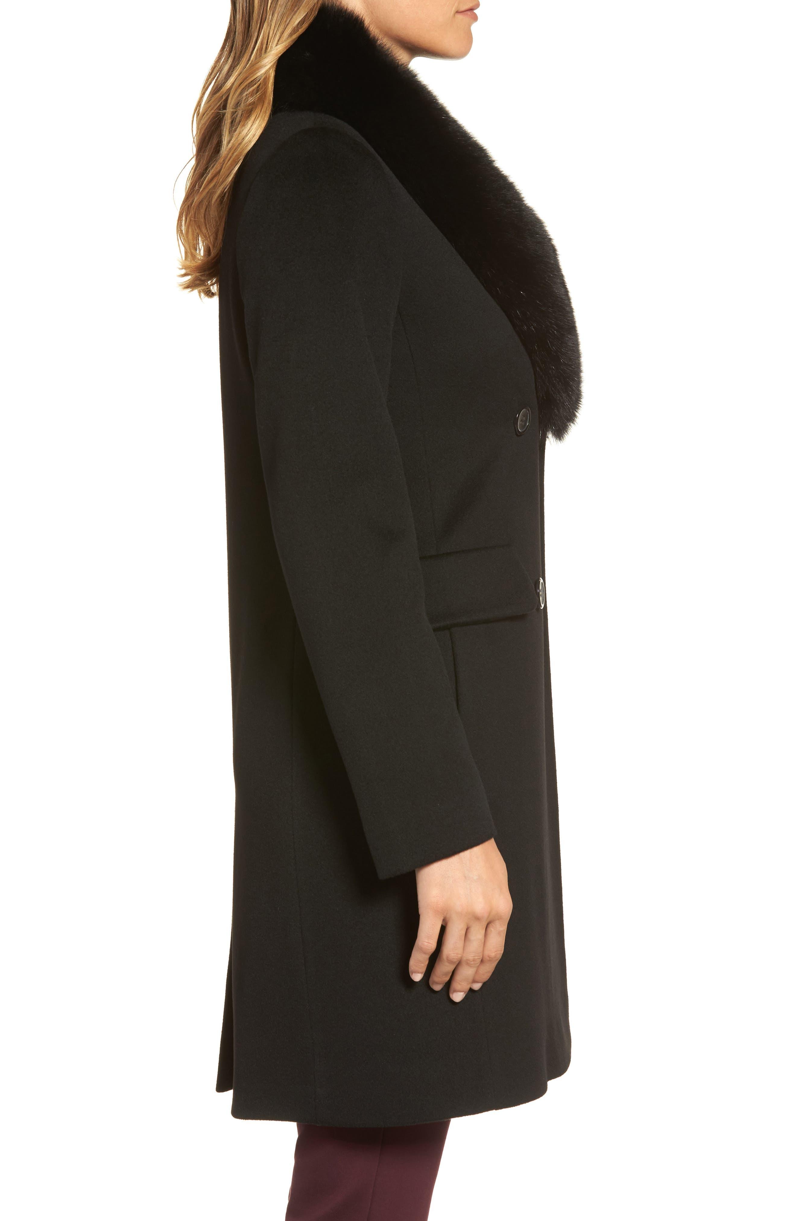 Alternate Image 3  - Fleurette Loro Piana Wool Coat with Genuine Fox Fur Collar