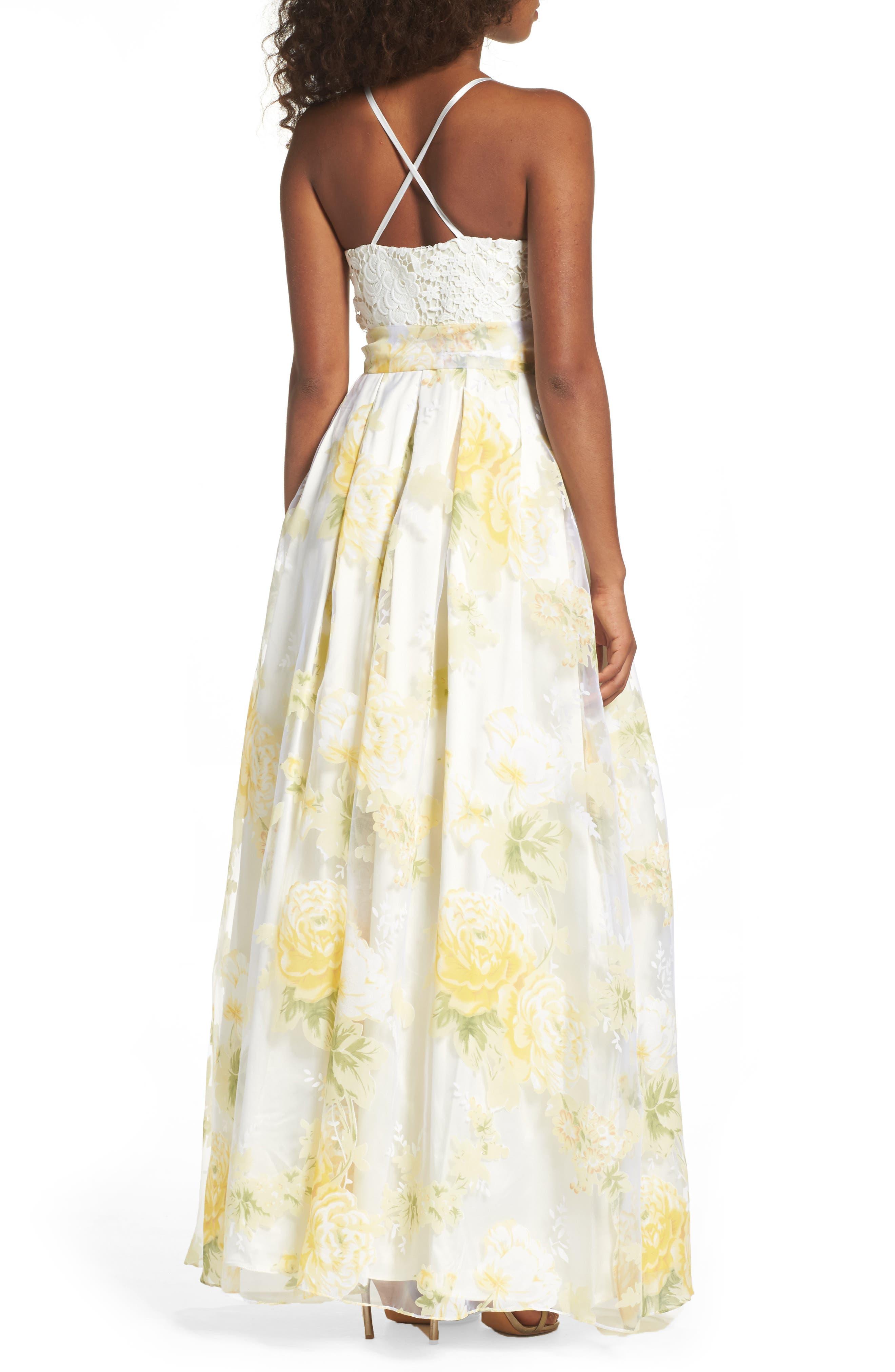 Alternate Image 2  - Eliza J Crochet & Floral Organza Halter Gown