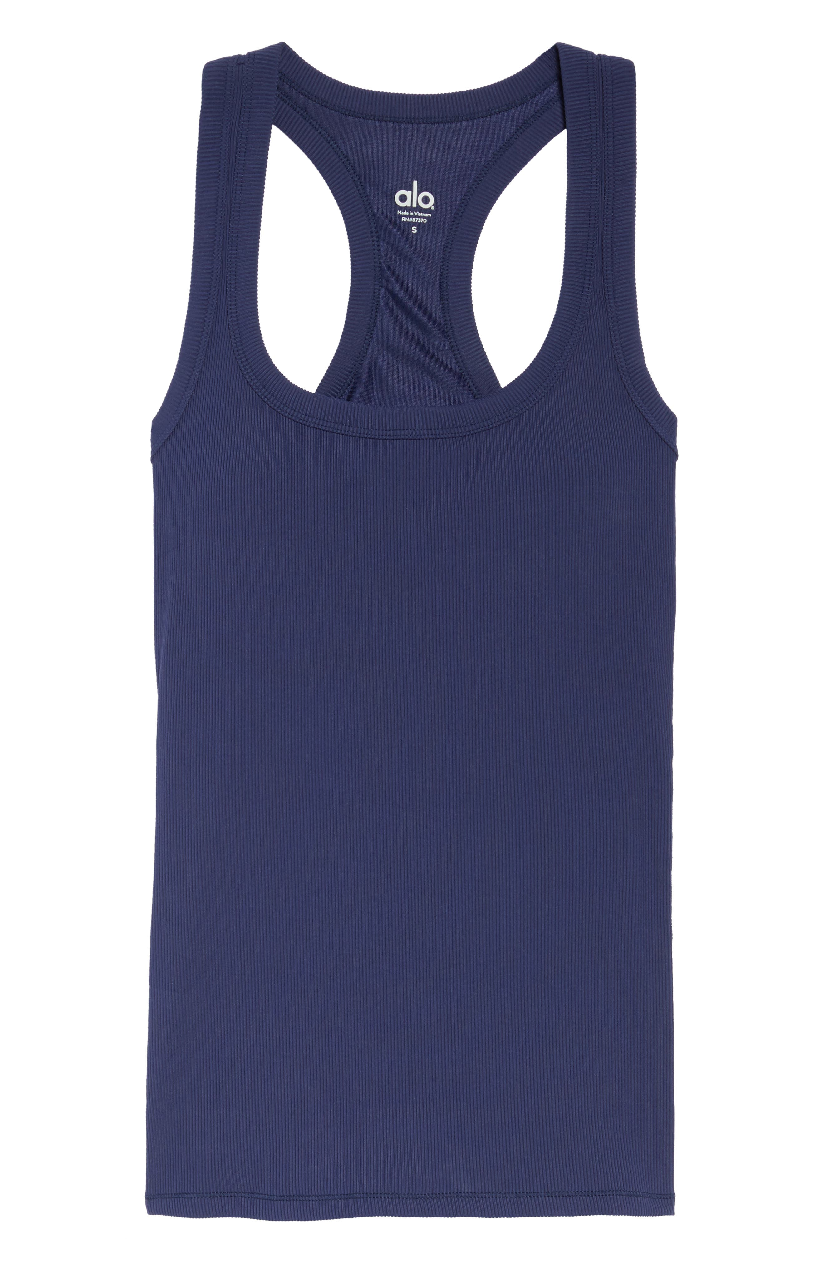 Support Ribbed Racerback Tank,                             Alternate thumbnail 7, color,                             Rich Navy