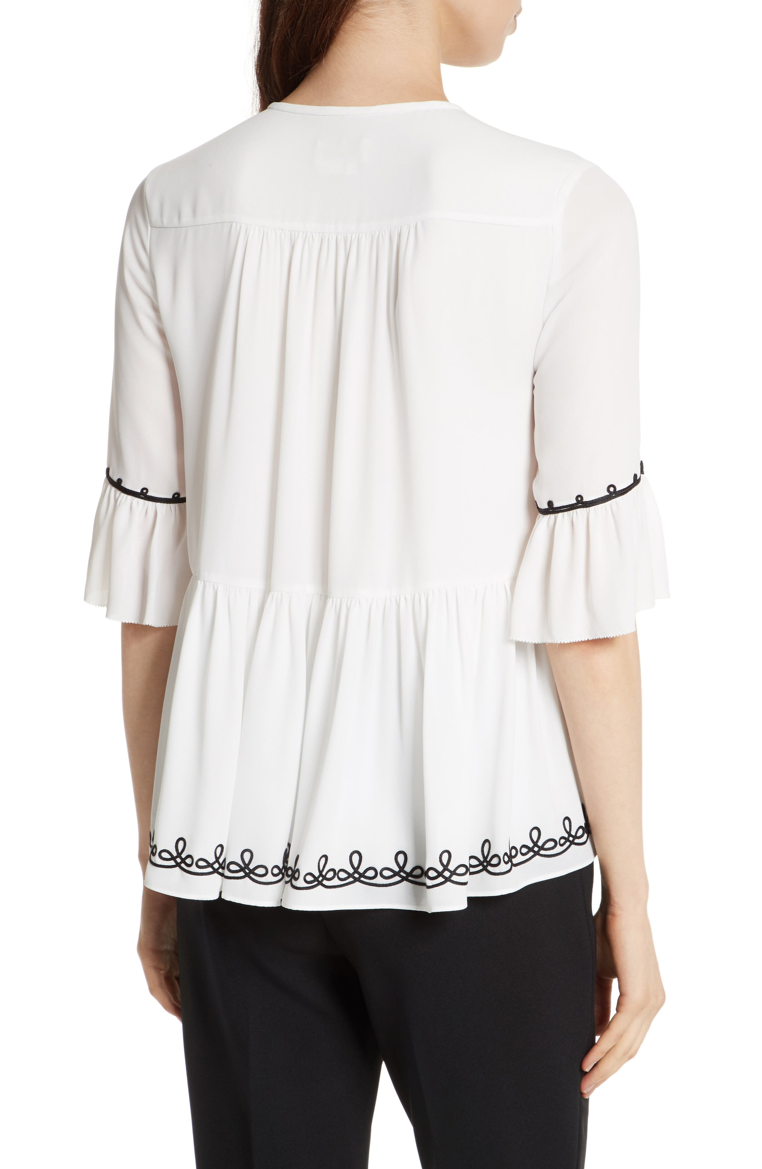 pom embroidered top,                             Alternate thumbnail 3, color,                             Cream