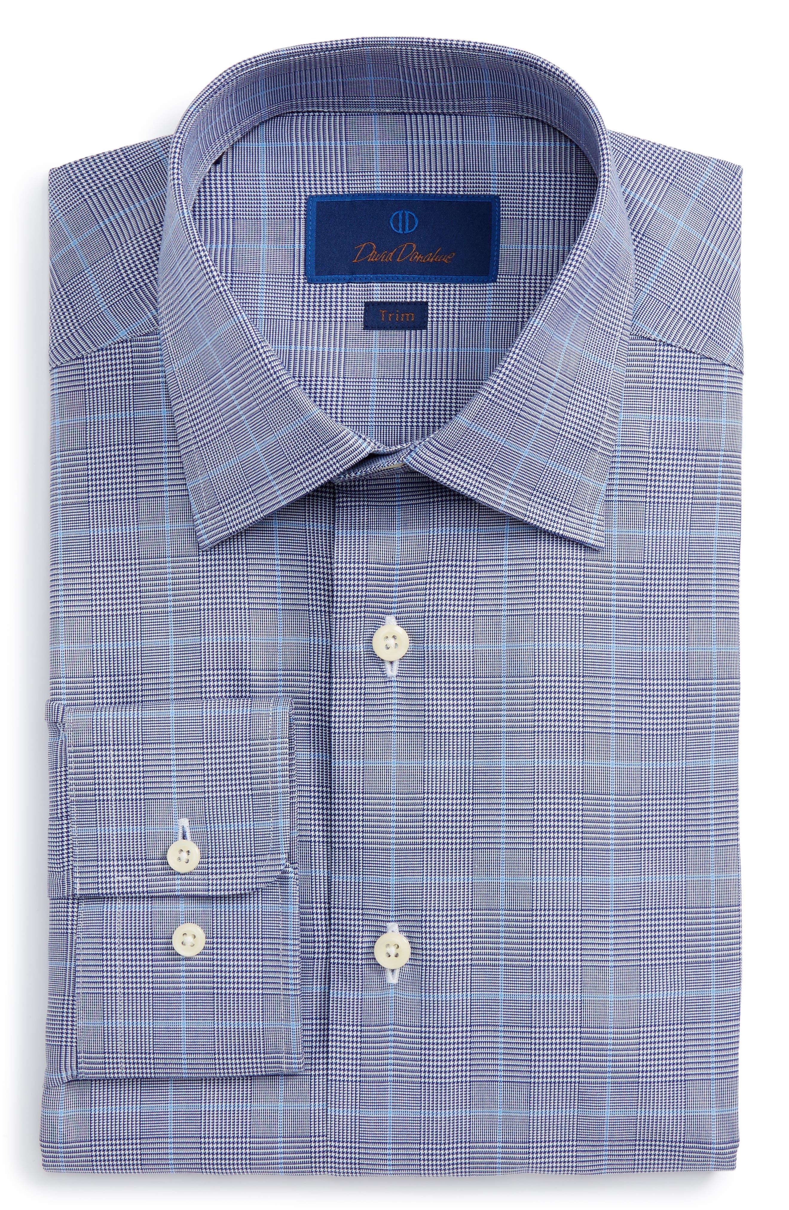 Main Image - David Donahue Trim Fit Plaid Dress Shirt