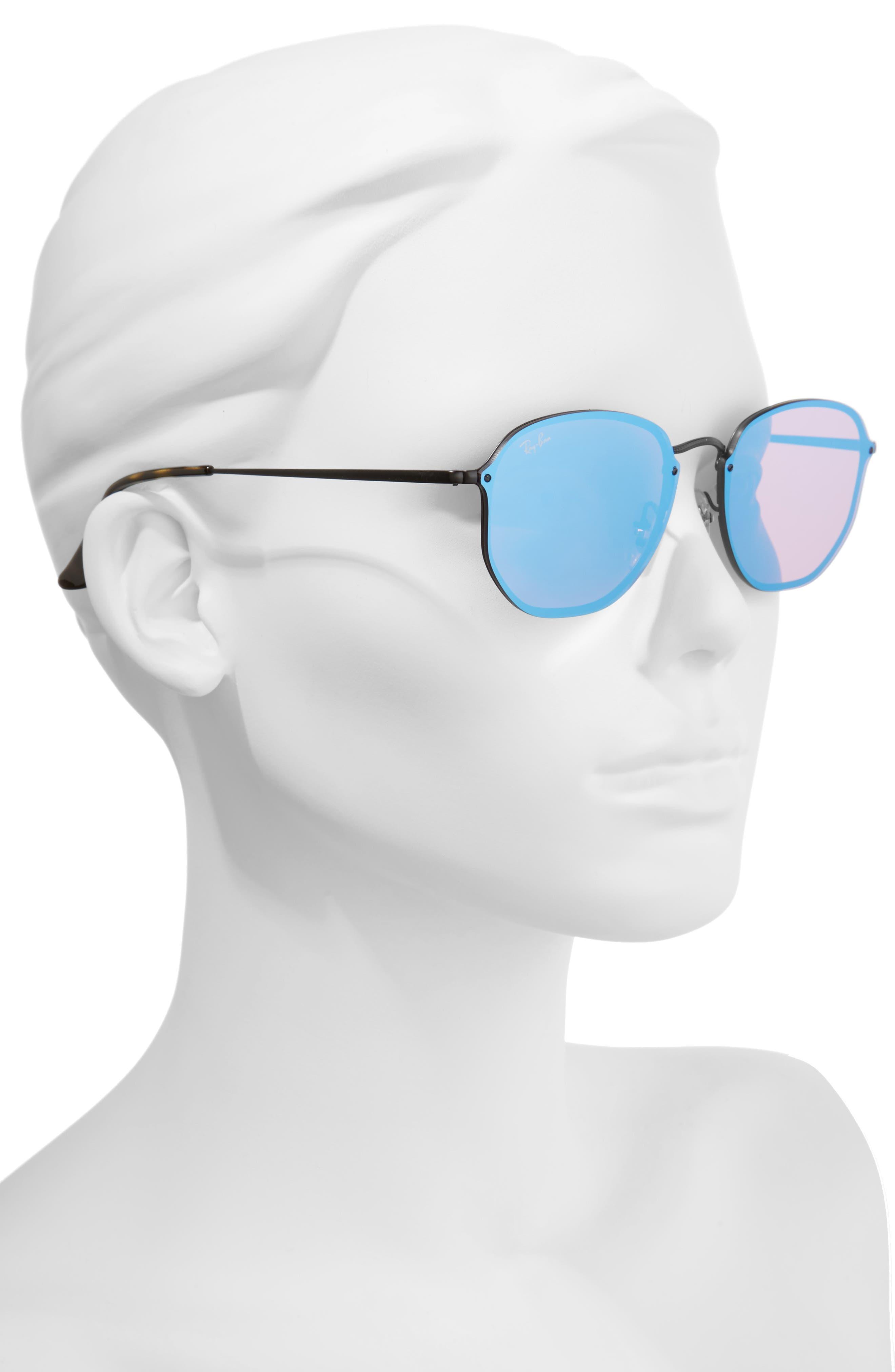 58mm Round Sunglasses,                             Alternate thumbnail 3, color,                             Shiny Black