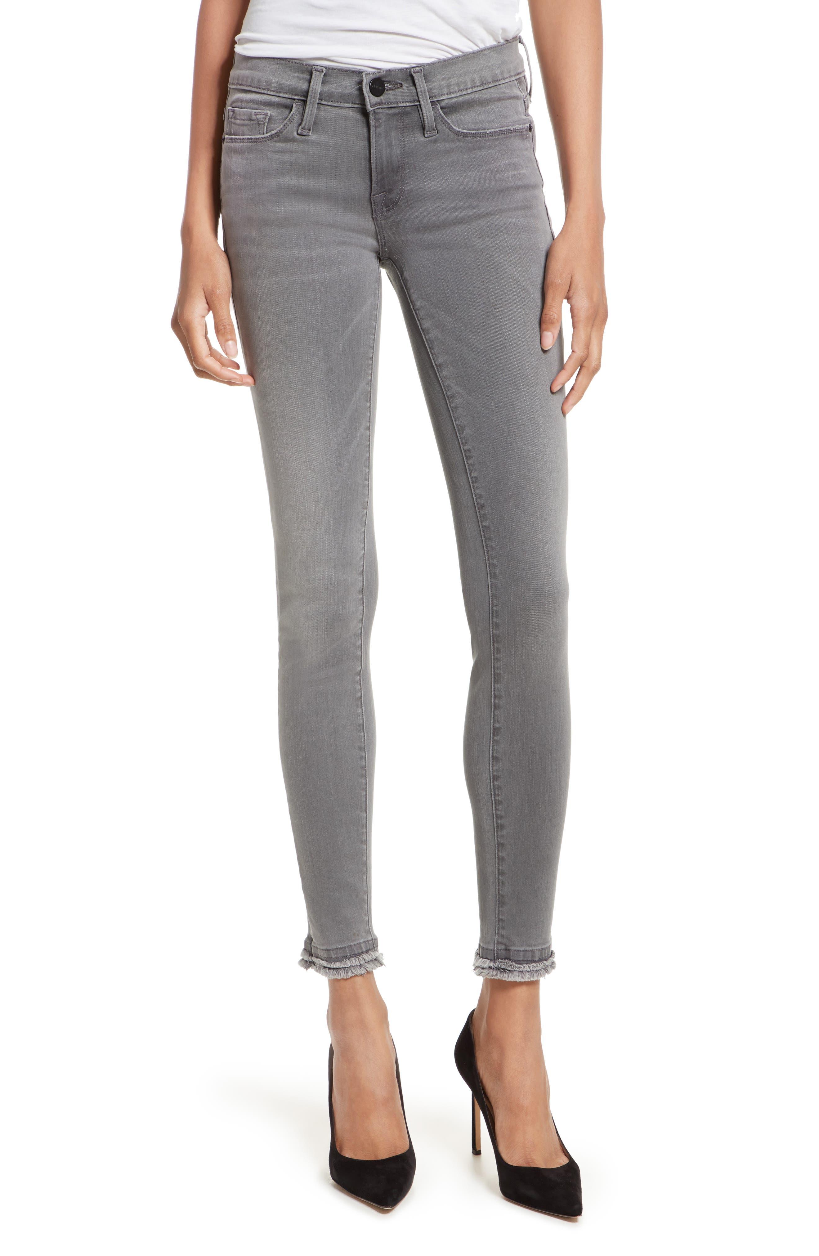Le Skinny De Jeanne Double Hem Skinny Jeans,                             Main thumbnail 1, color,                             Maralago