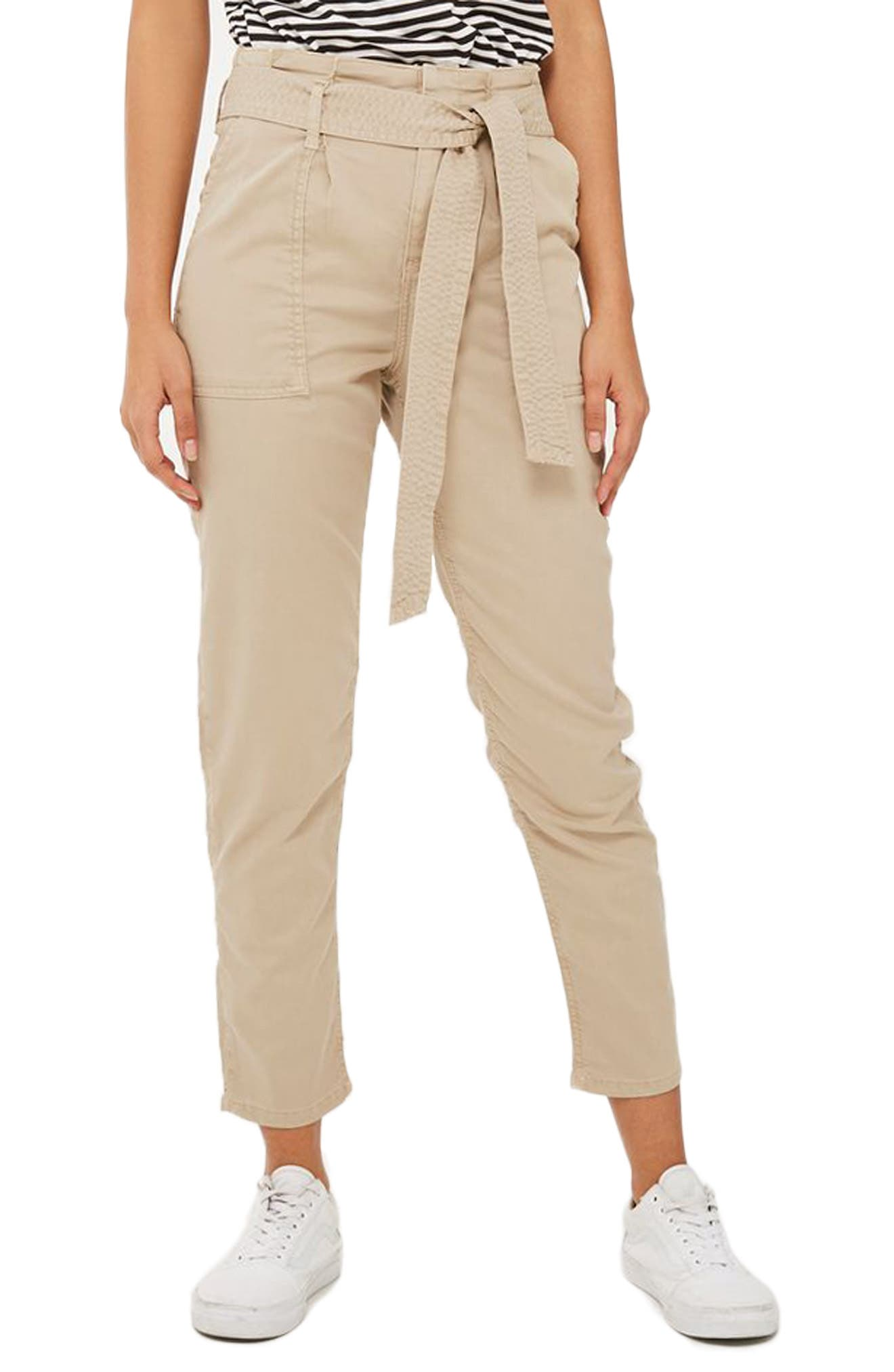 Paperbag Peg Trousers,                             Main thumbnail 1, color,                             Stone