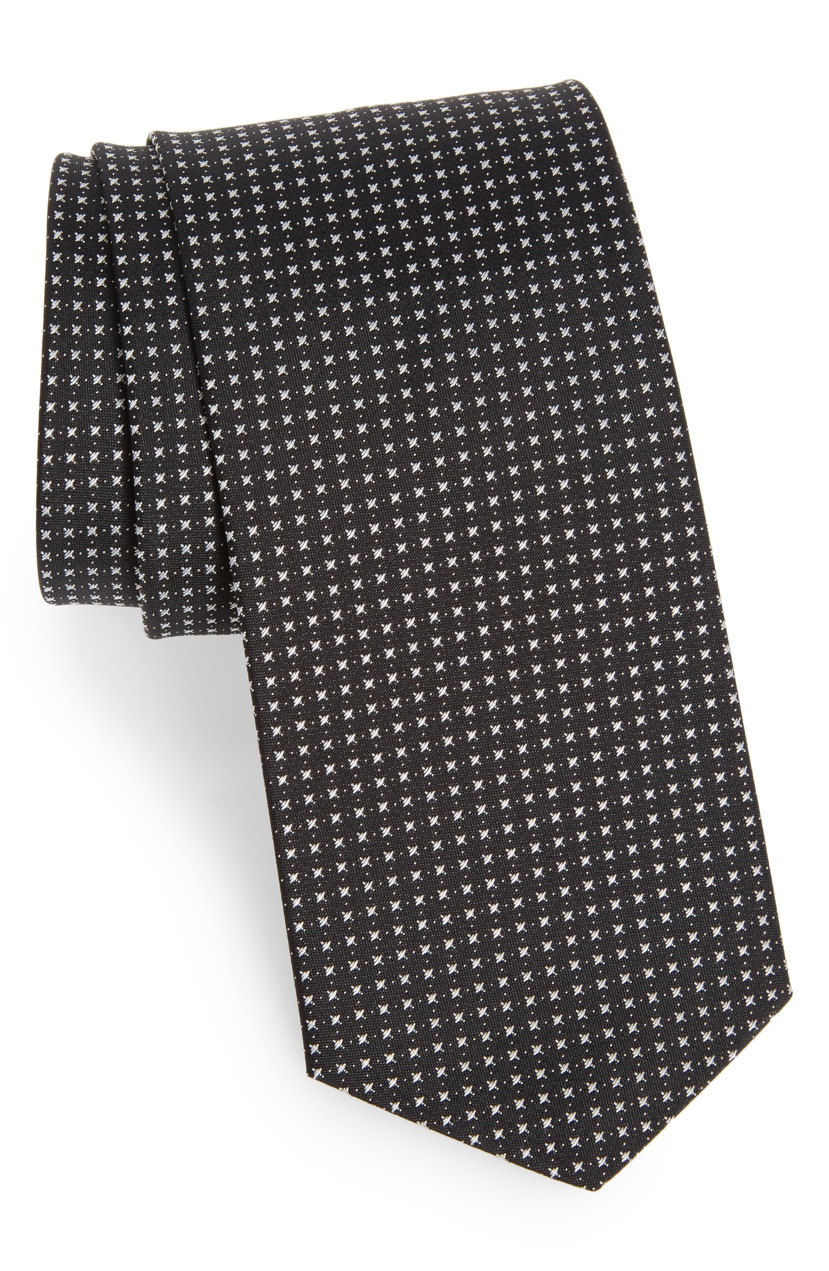 Geometric Silk Tie,                         Main,                         color, Black