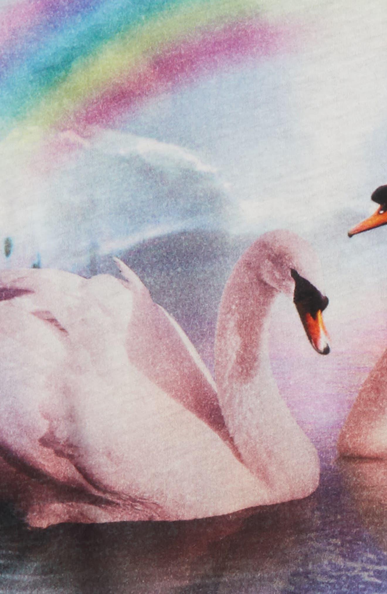 Kids Swan Graphic Tee,                             Alternate thumbnail 2, color,                             Black