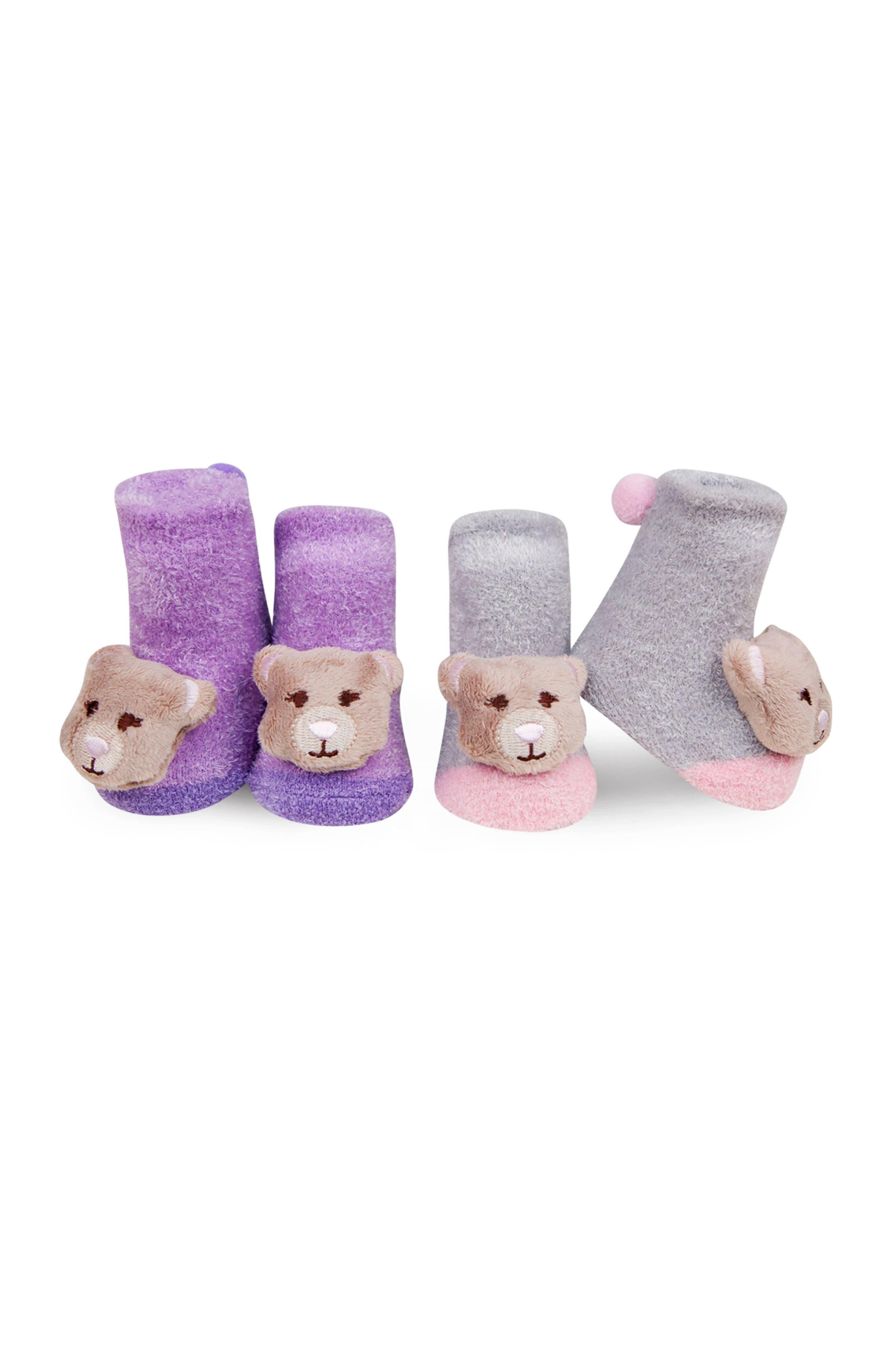 & Friends 2-Pack Animal Rattle Socks,                         Main,                         color, Purple/ Pink