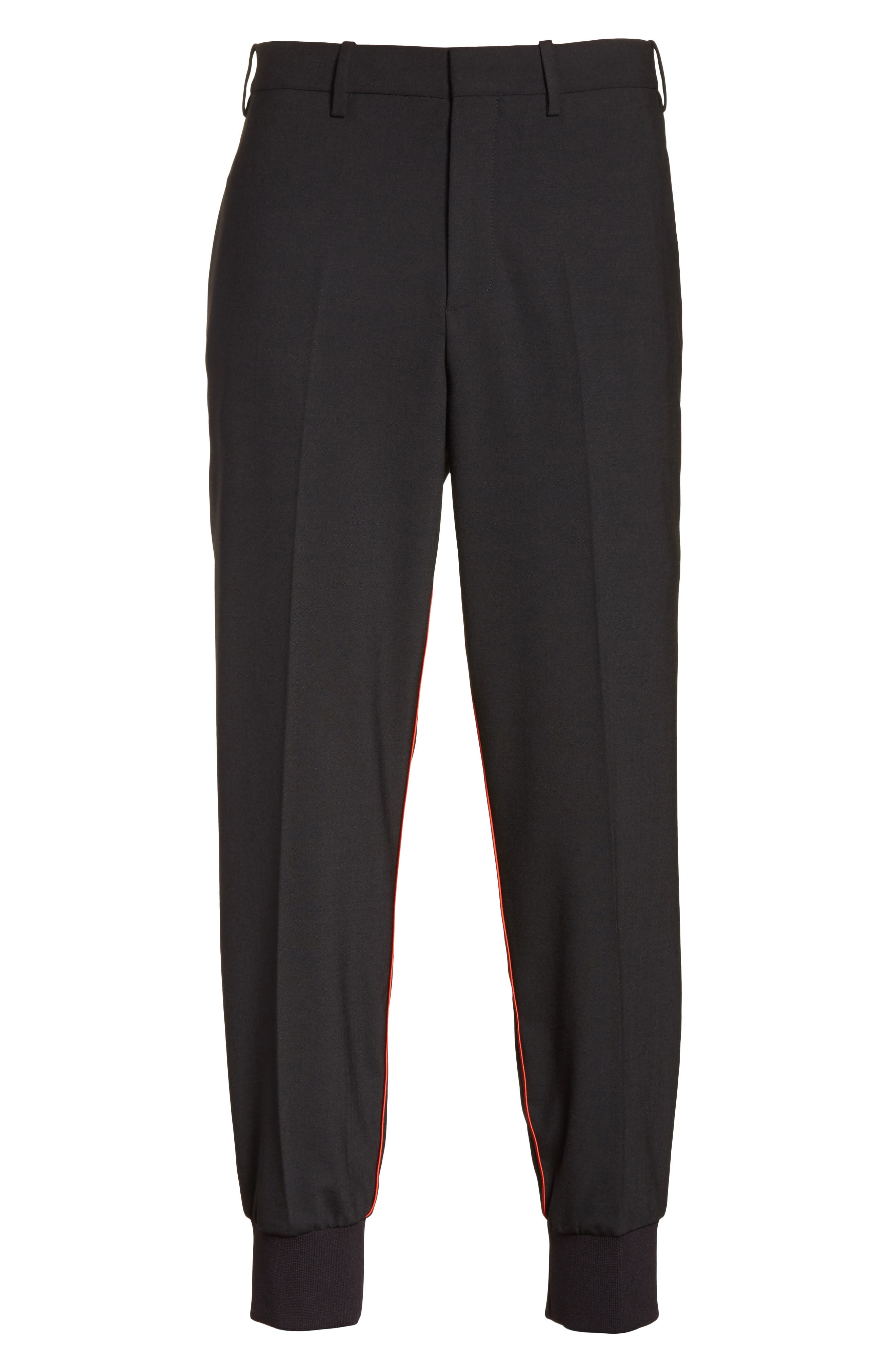 Piped Woven Jogger Pants,                             Alternate thumbnail 6, color,                             Black/ Red
