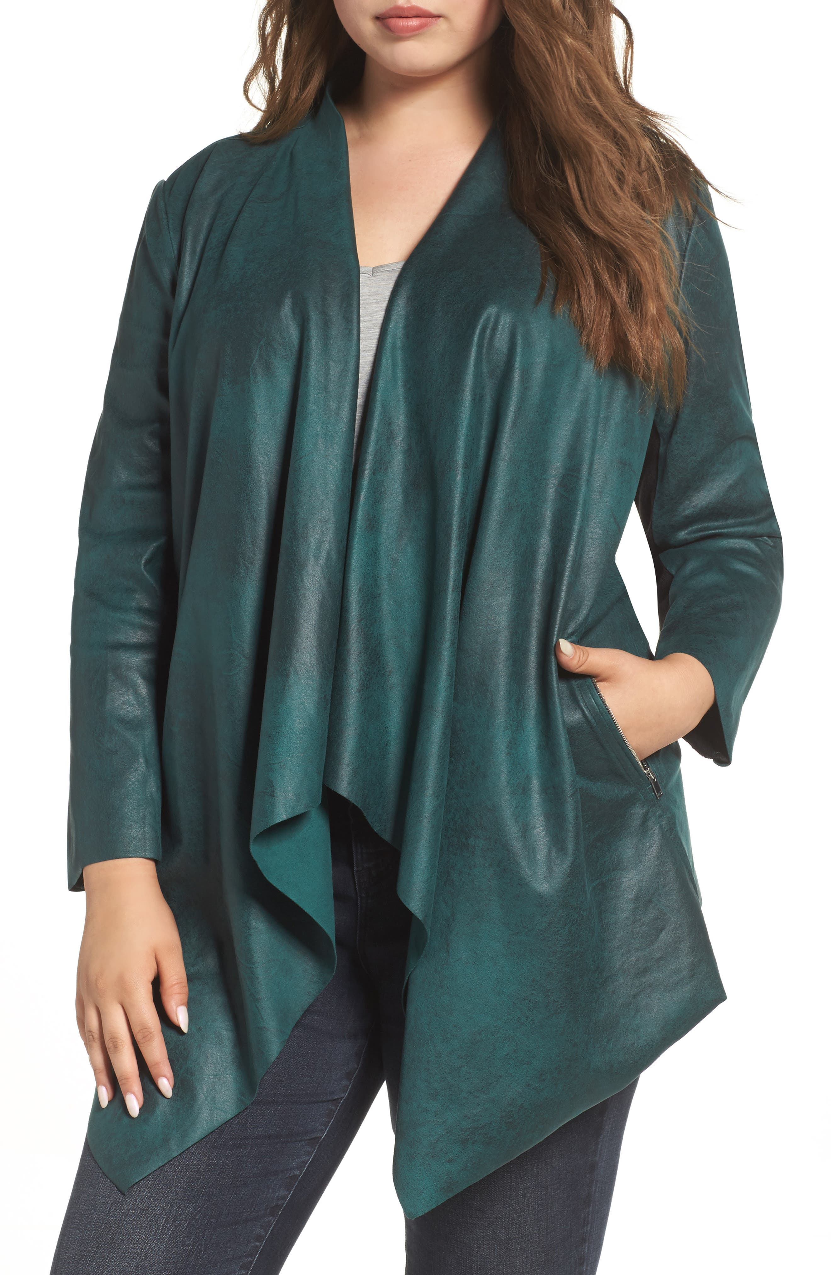 Stretch Faux Suede Jacket,                         Main,                         color, Sea Moss