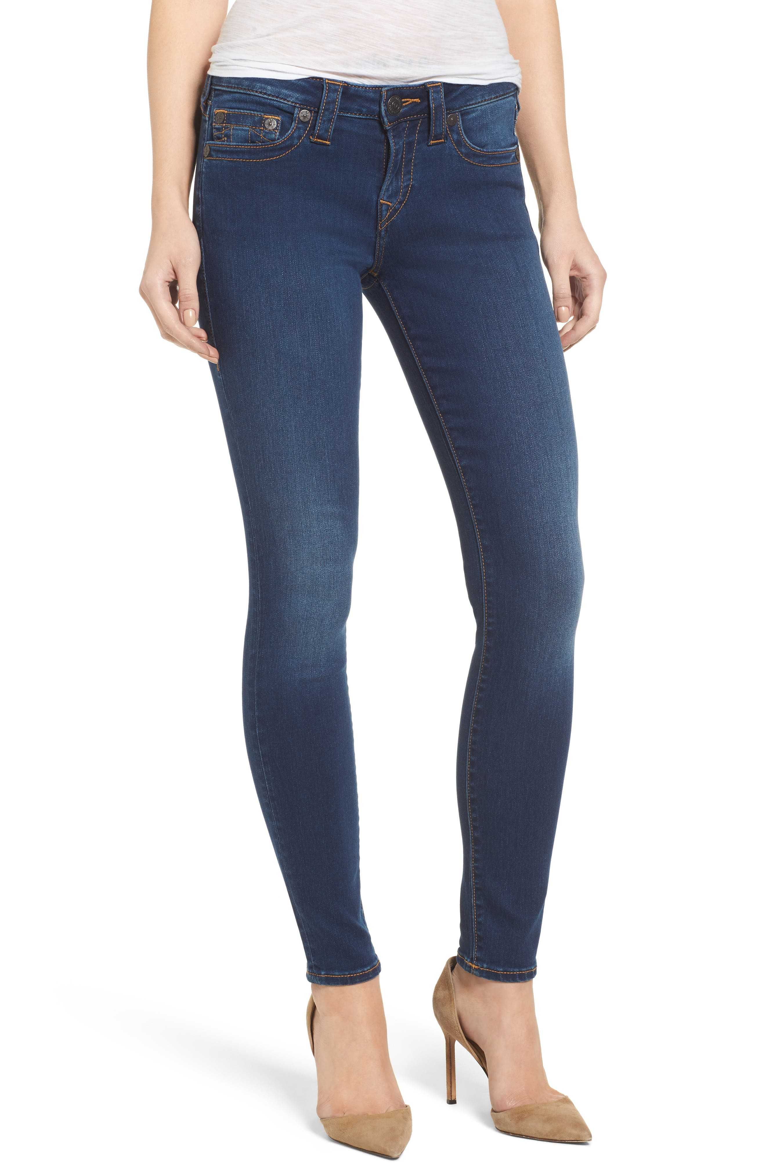 Halle Mid Rise Skinny Jeans,                         Main,                         color, Lands End Indigo