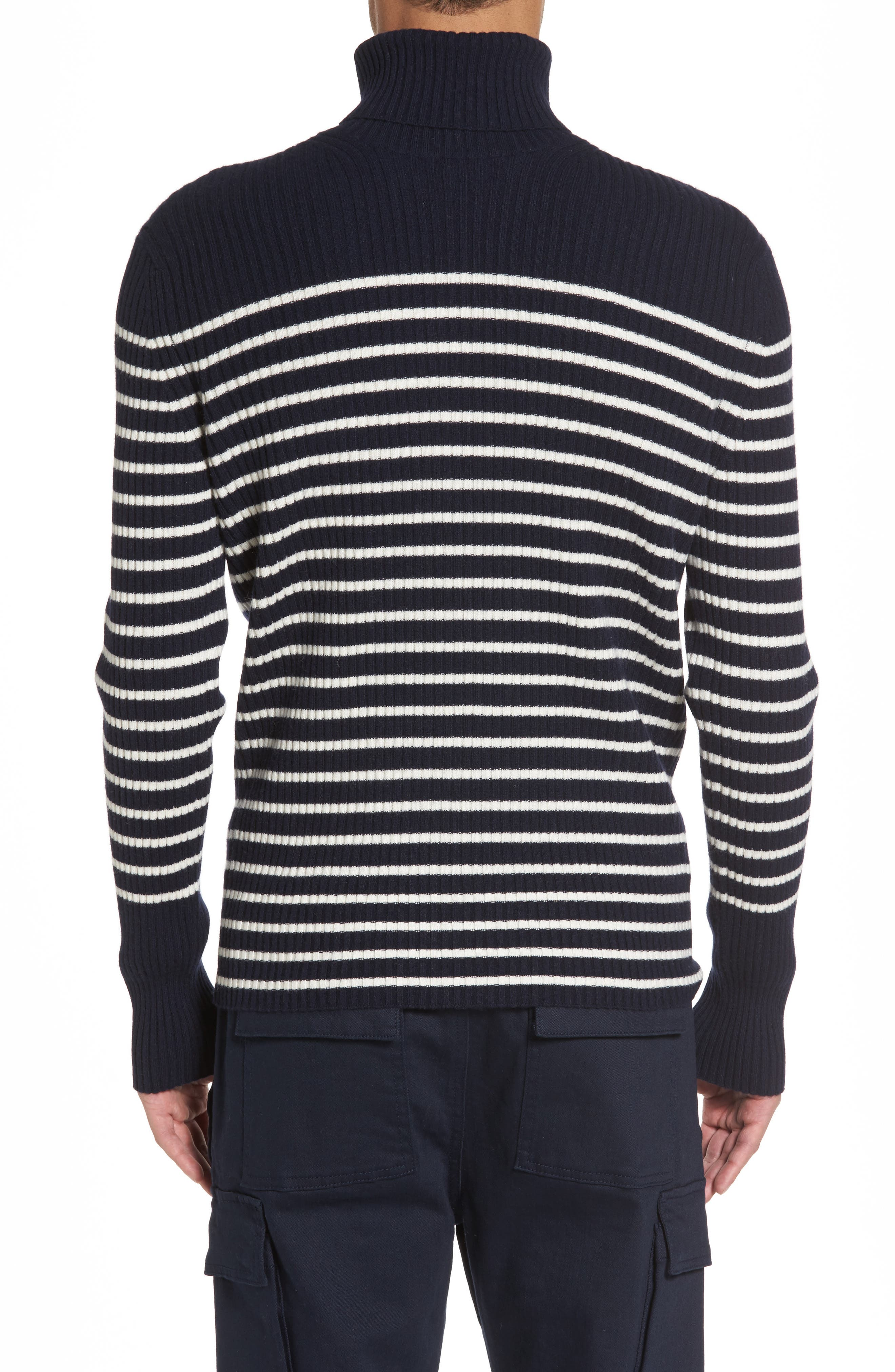 Regular Fit Breton Stripe Cashmere Turtleneck Sweater,                             Alternate thumbnail 2, color,                             Coastal/ Breeze
