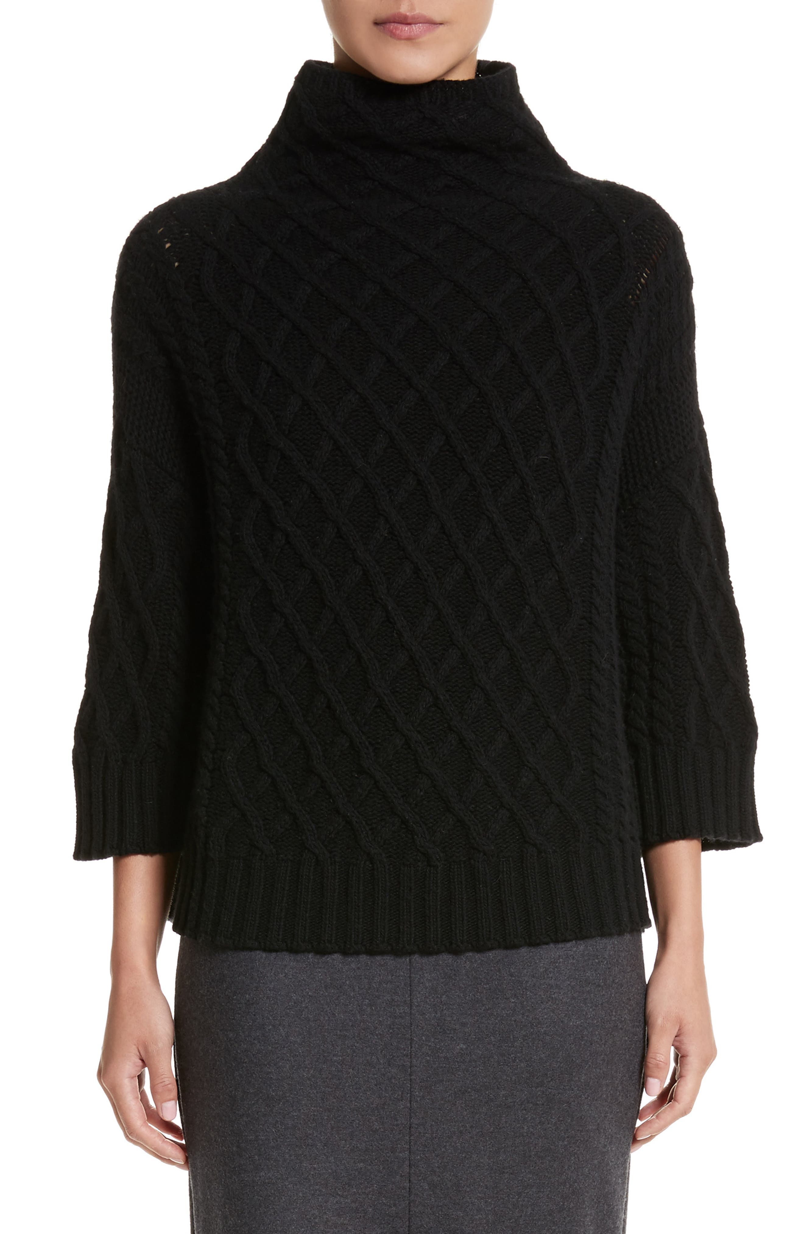 Cantone Wool & Cashmere Funnel Neck Sweater,                         Main,                         color, Black